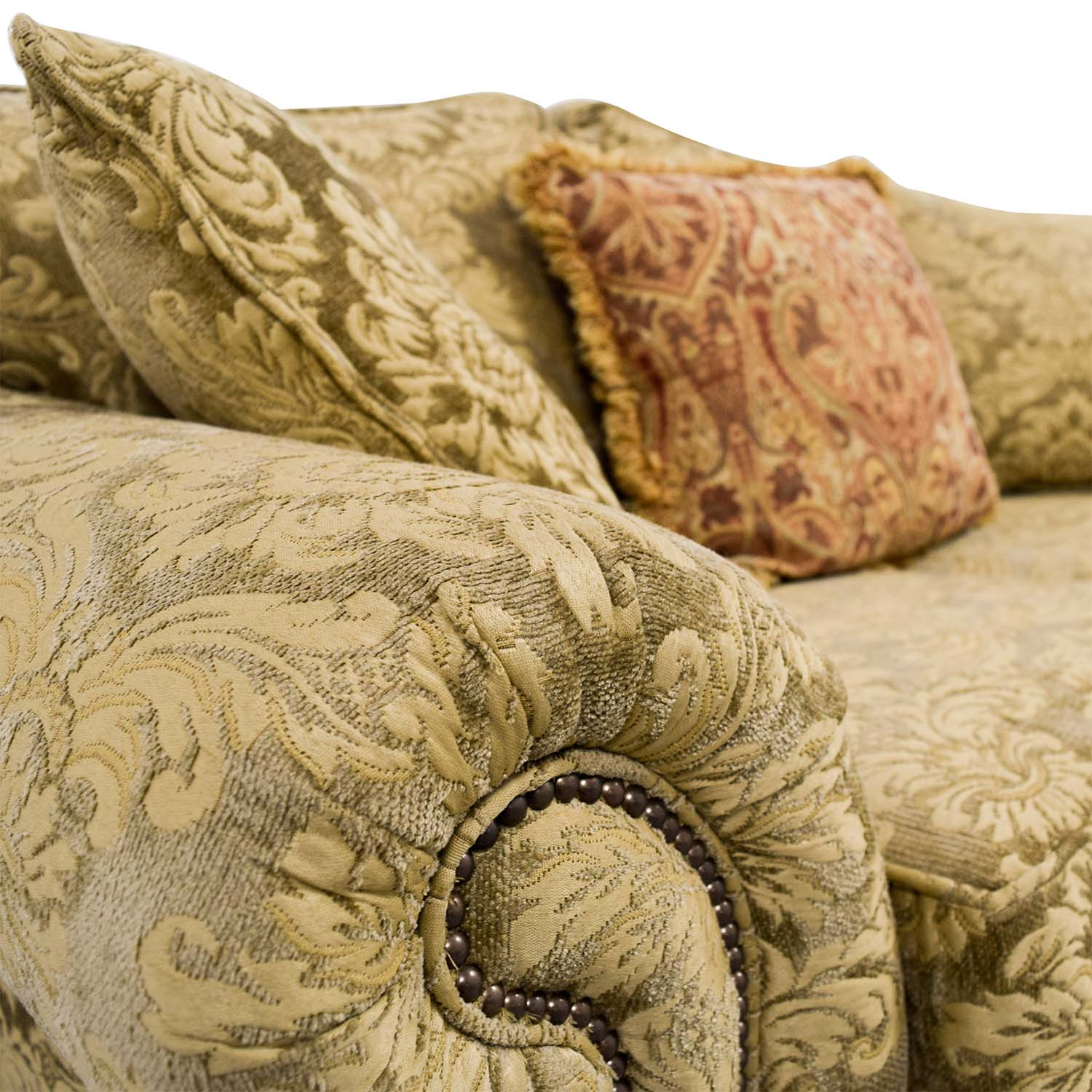 Gold Upholstered Loveseat with Toss Pillows
