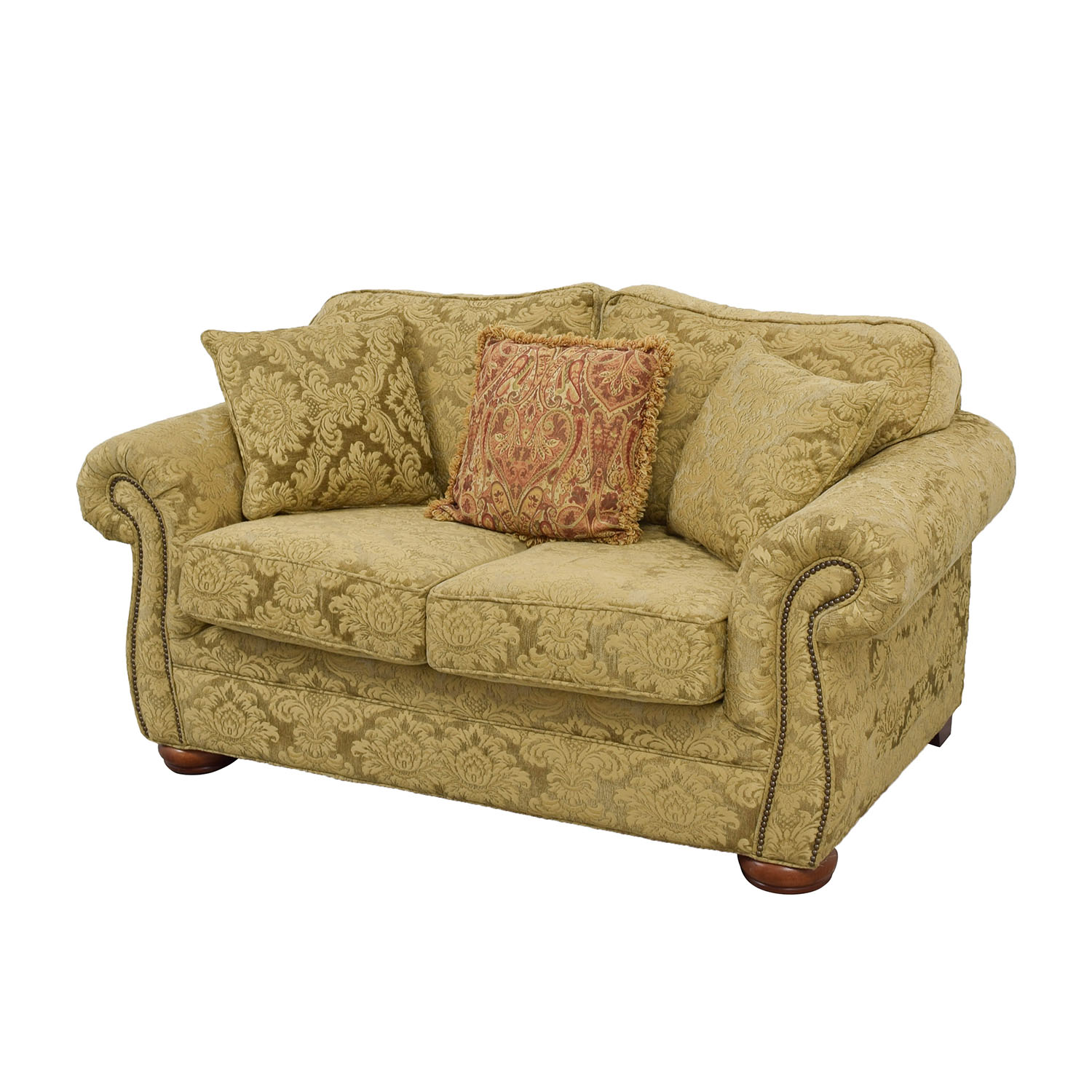 84 Off Gold Upholstered Loveseat With Toss Pillows Sofas