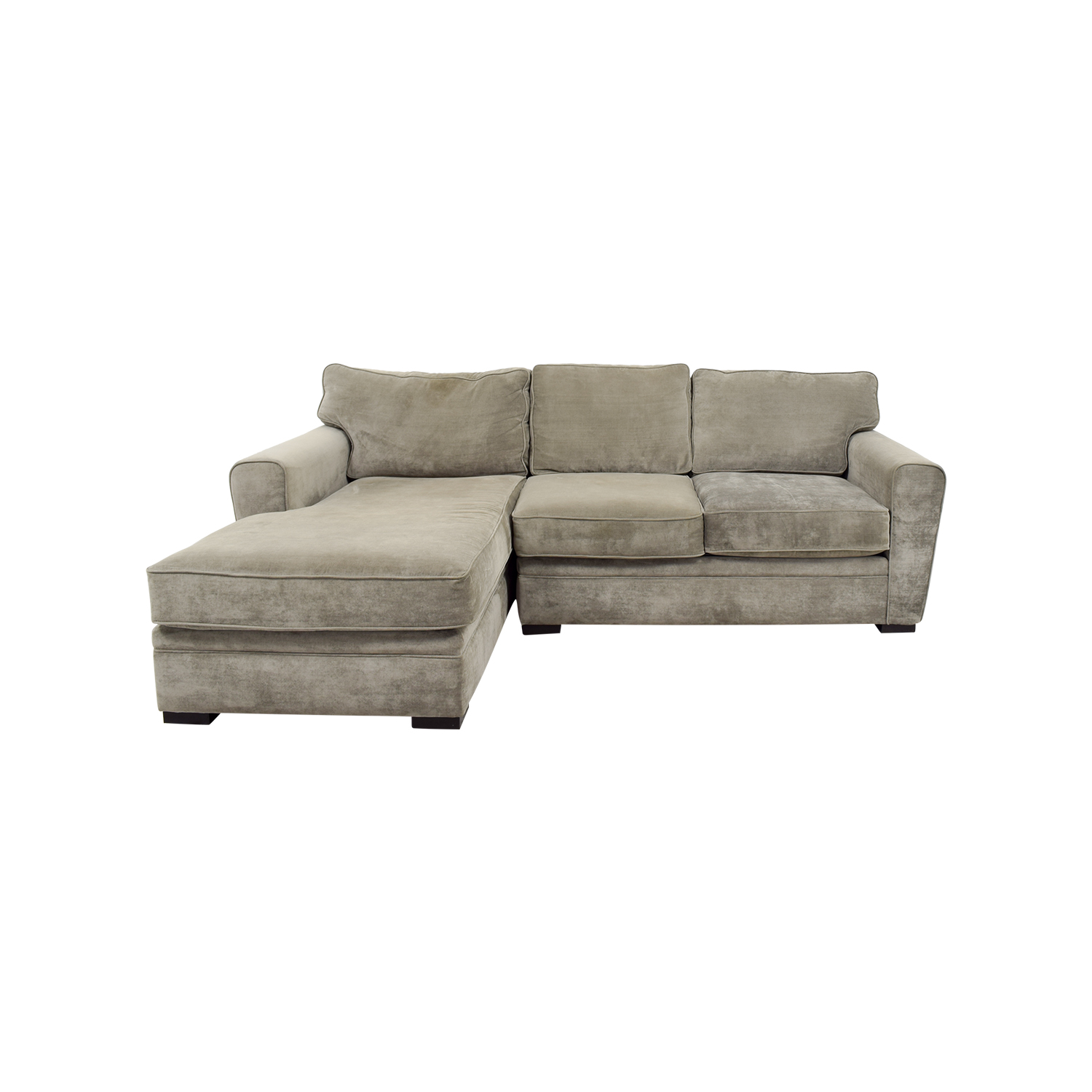 Crate and Barrel Crate and Barrel Gray Velvet Chaise Sectional nj