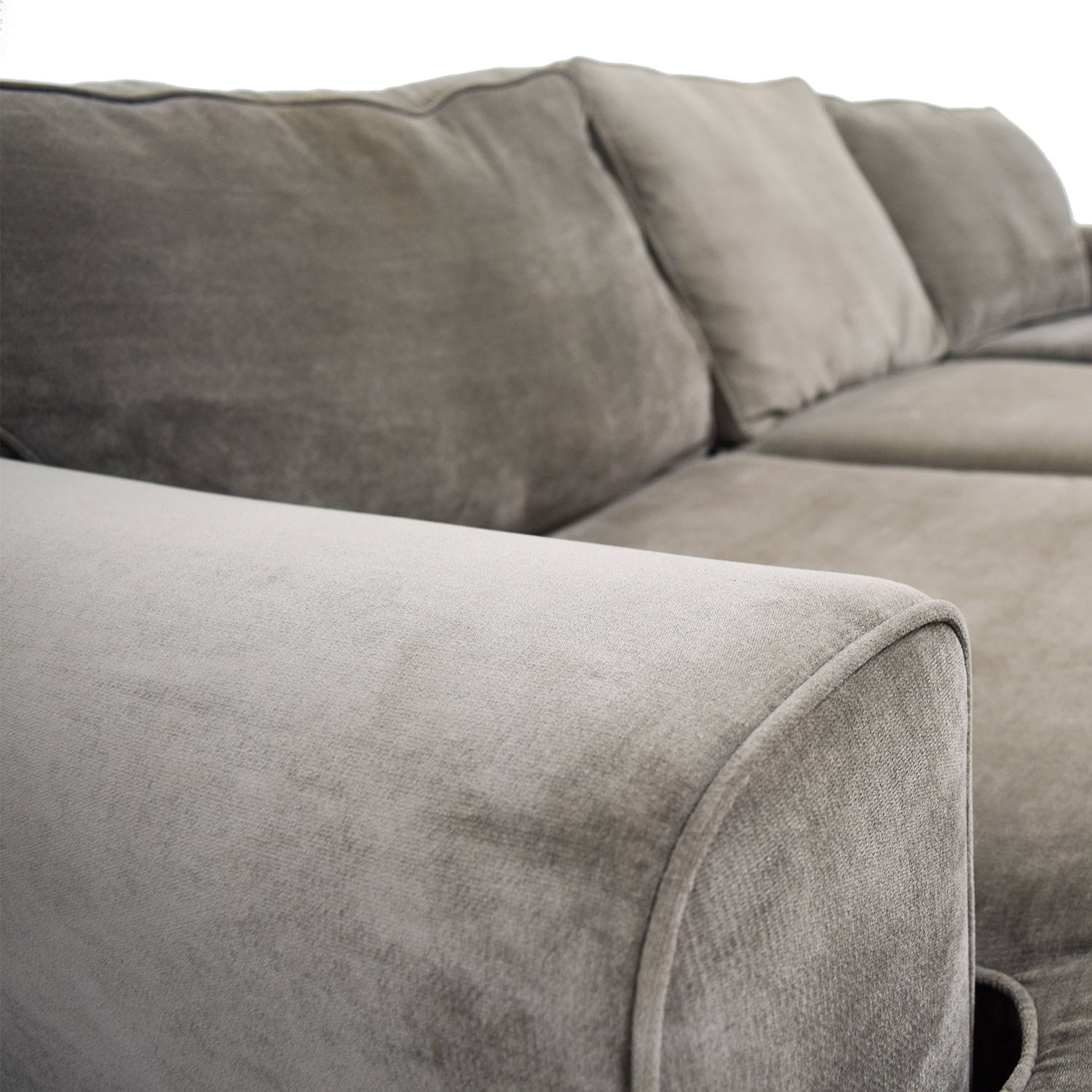 Incredible 60 Off Crate Barrel Crate And Barrel Gray Velvet Chaise Sectional Sofas Ibusinesslaw Wood Chair Design Ideas Ibusinesslaworg