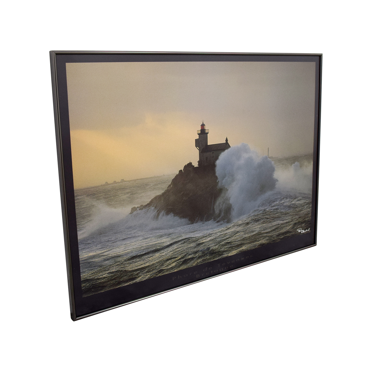 Lighthouse In Storm Framed Painting nj