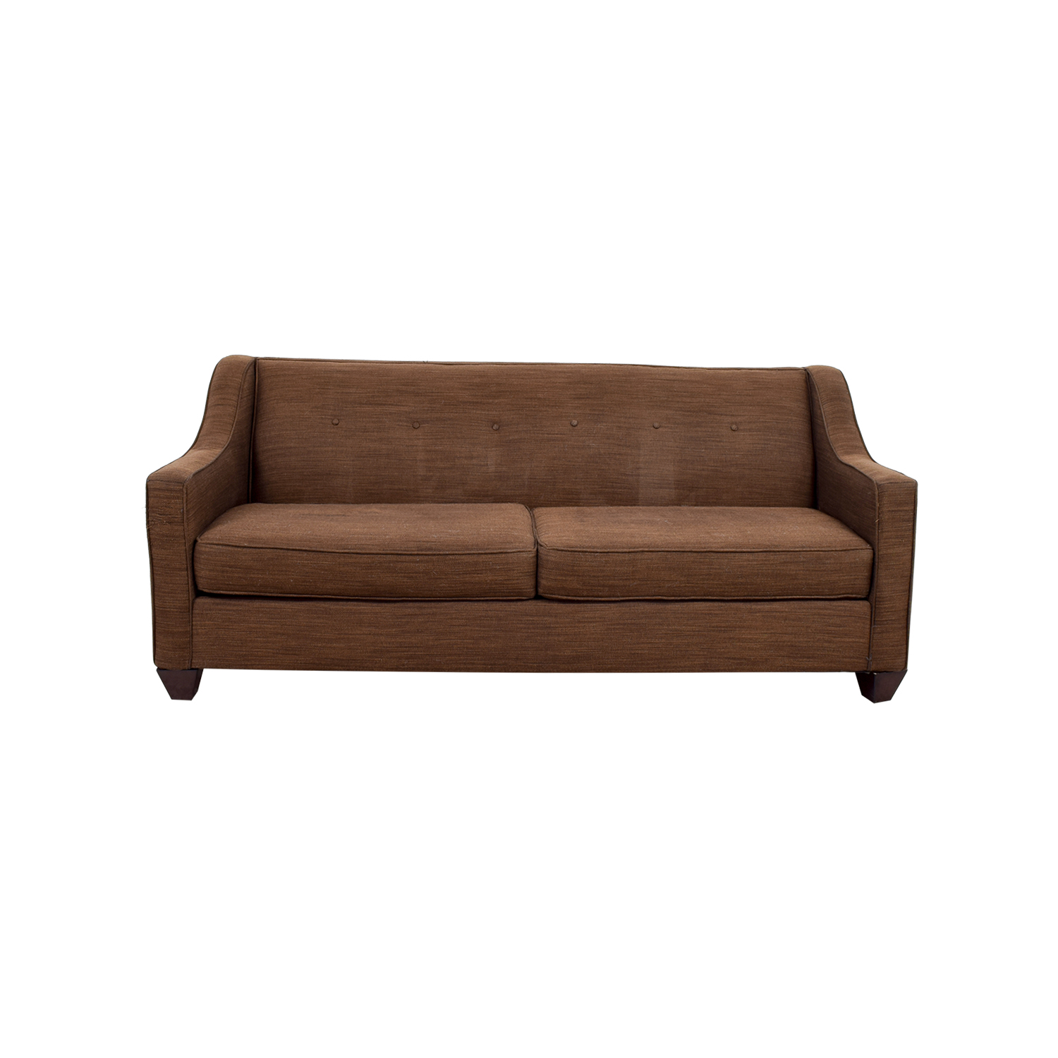 Two-Cushion Brown Slightly Tufted Couch second hand
