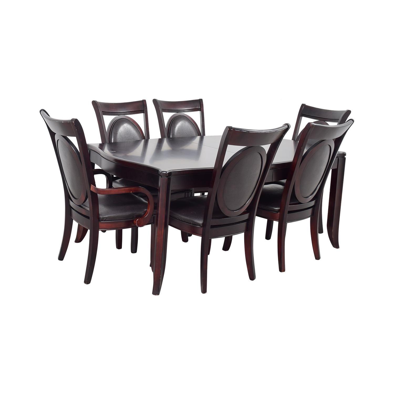 Dark Wood and Black Leather Dining Set nj