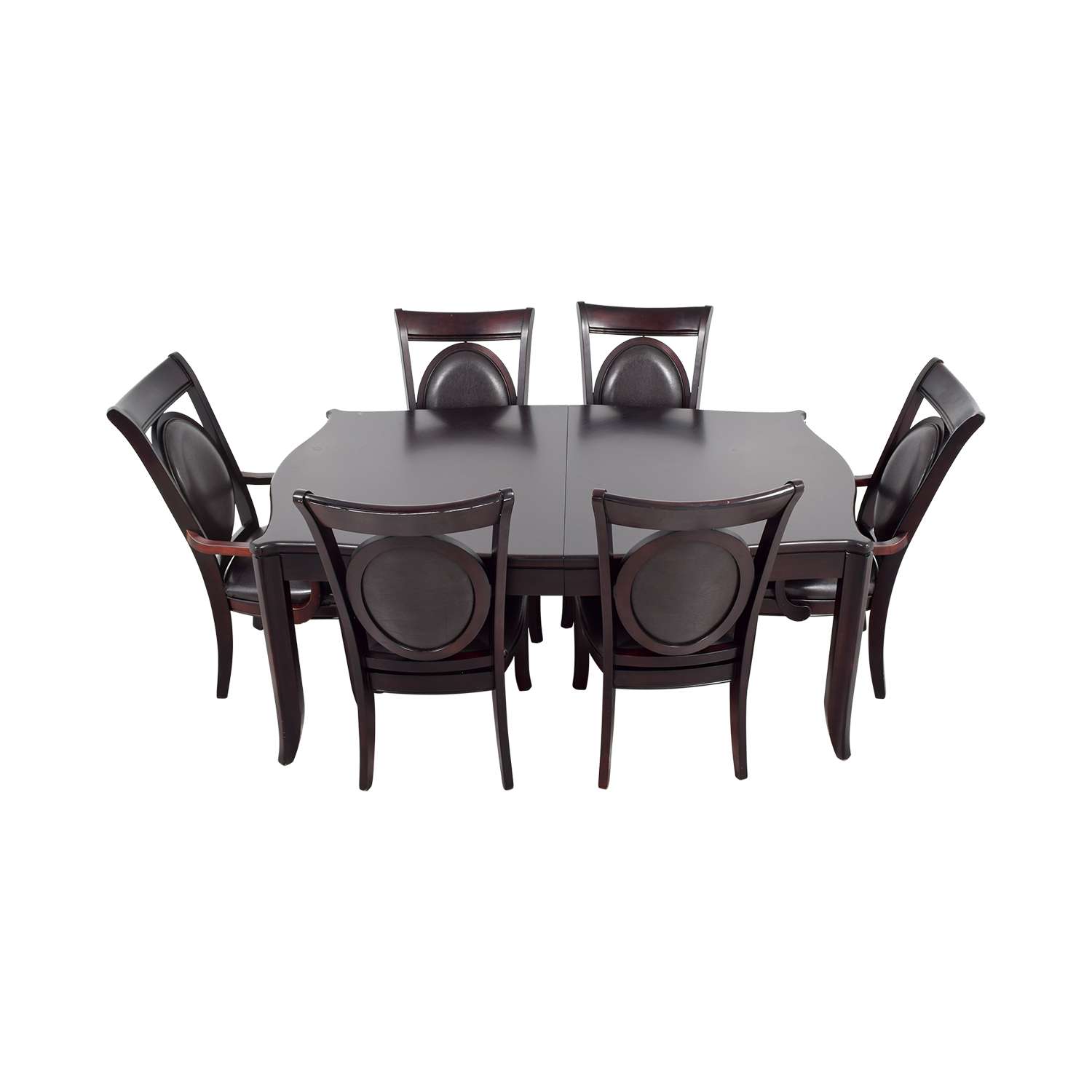 Dark Wood and Black Leather Dining Set on sale