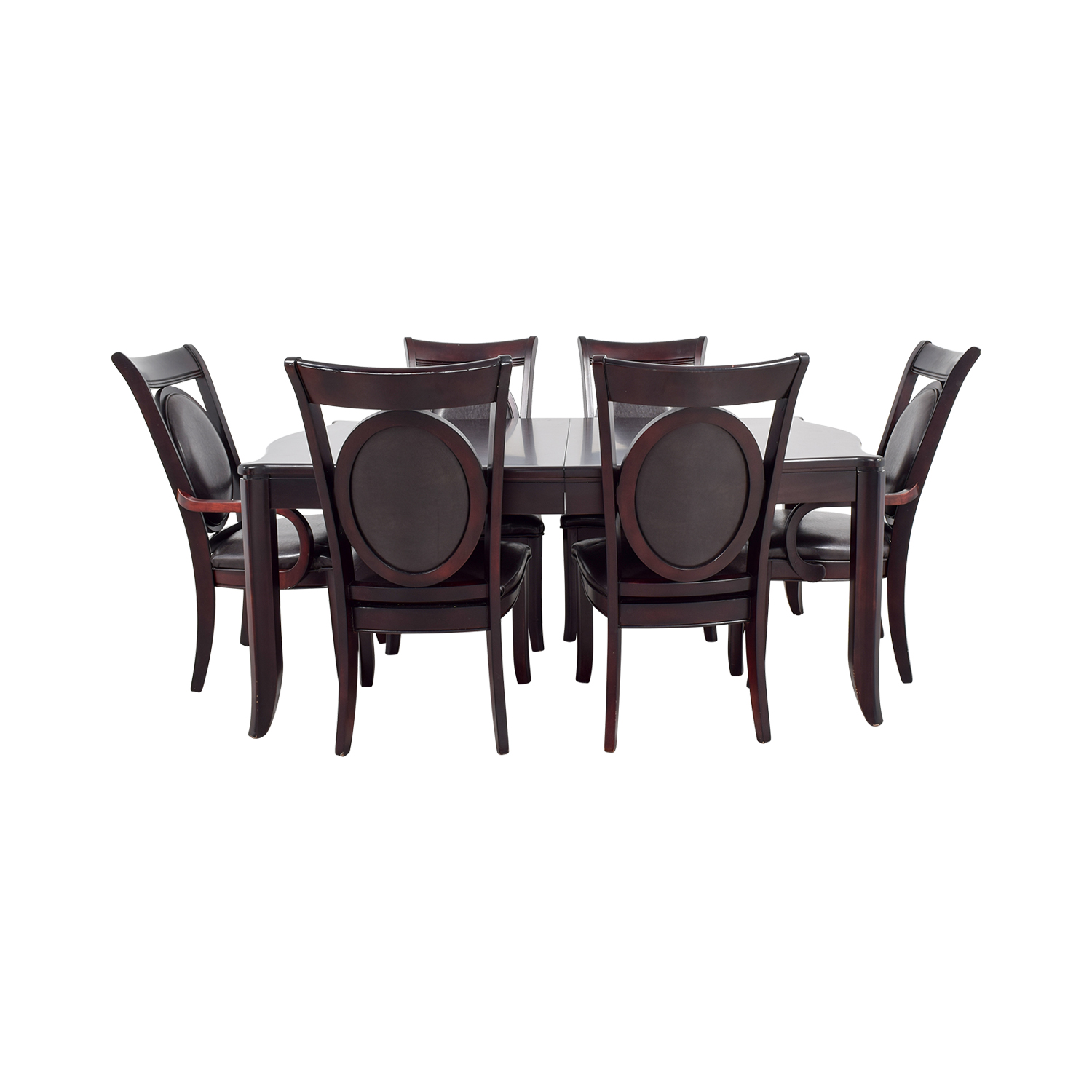 Dark Wood and Black Leather Dining Set brown