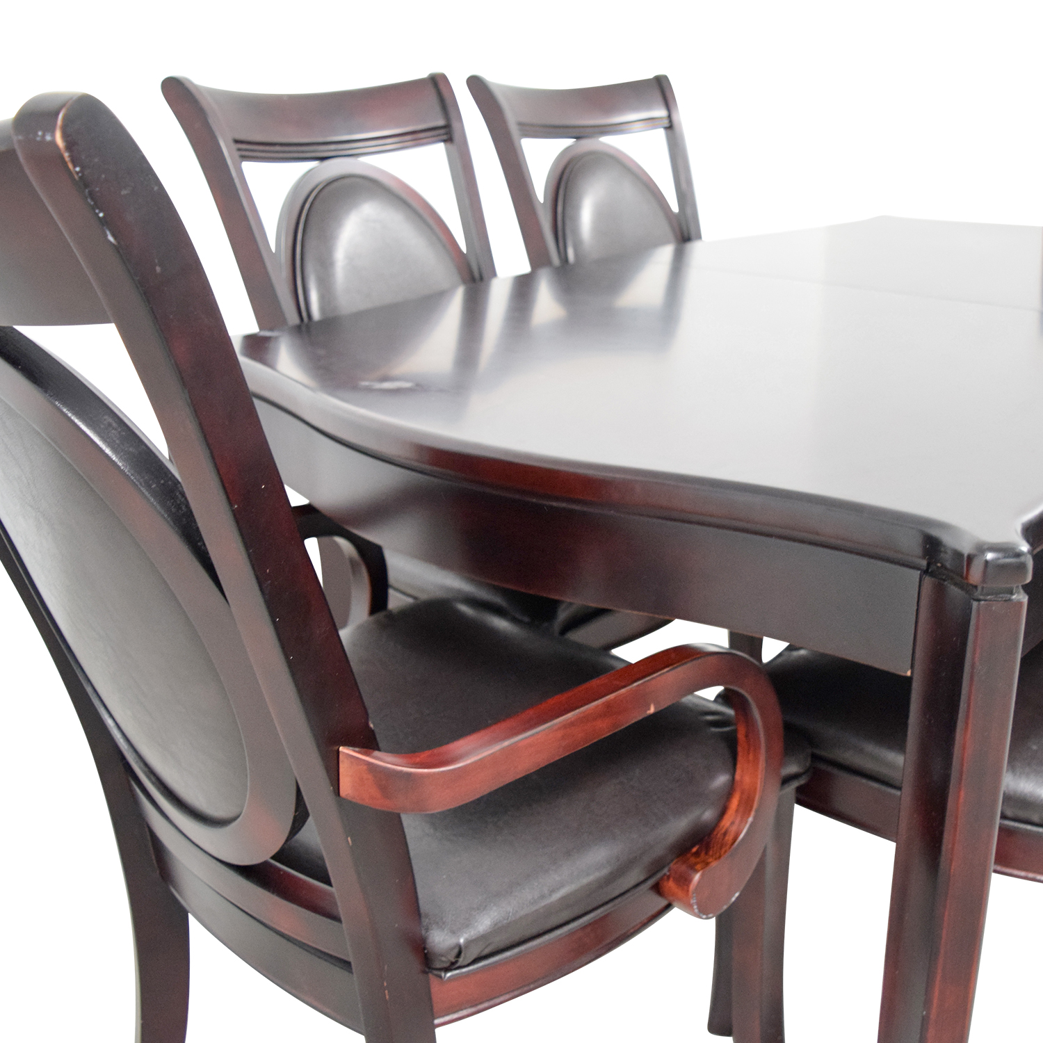 buy Dark Wood and Black Leather Dining Set Tables