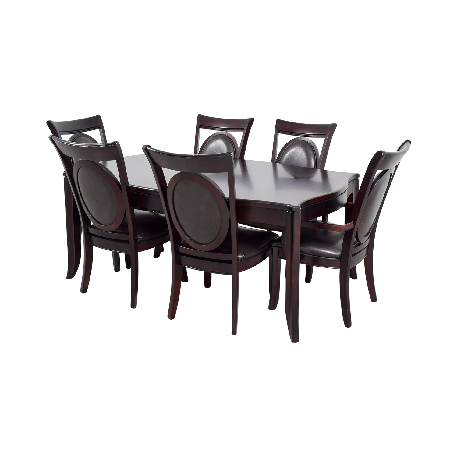 Leather Dining Set: Dark Wood And Black Leather Dining Set / Tables