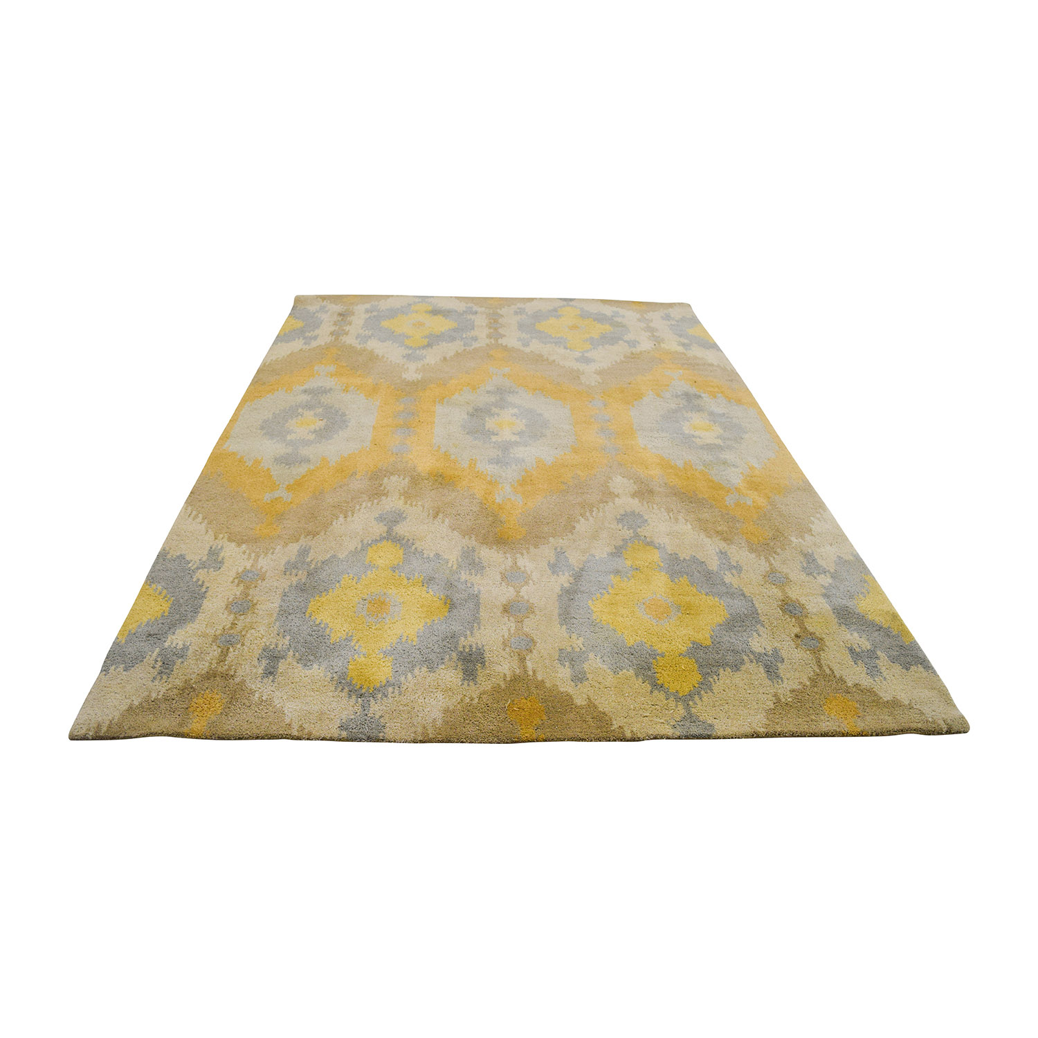 Yellow Beige and Grey Rug used