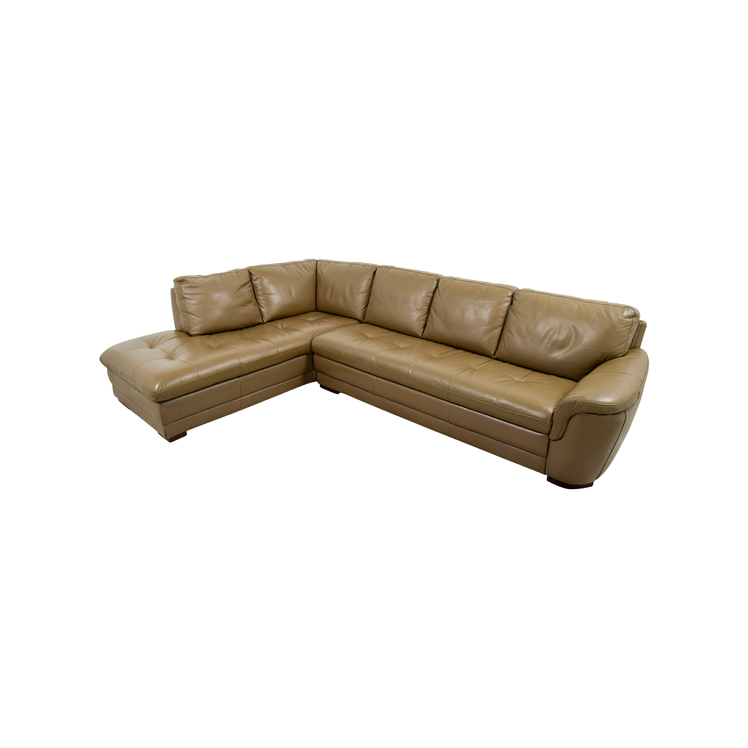 Raymour & Flanigan Raymour & Flanigan Garrison Tufted Leather Sectional used