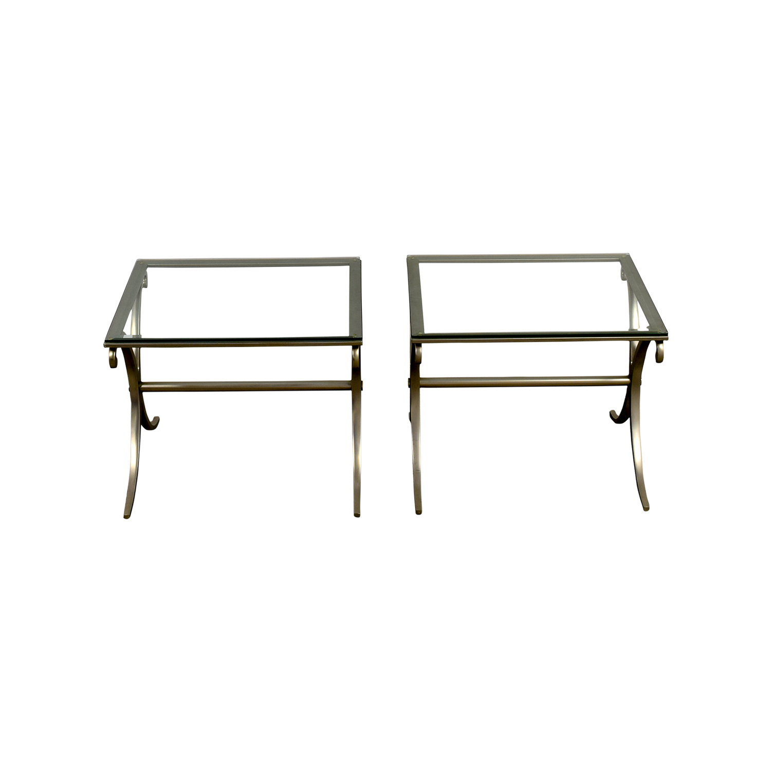 Silver and Glass End Tables / End Tables