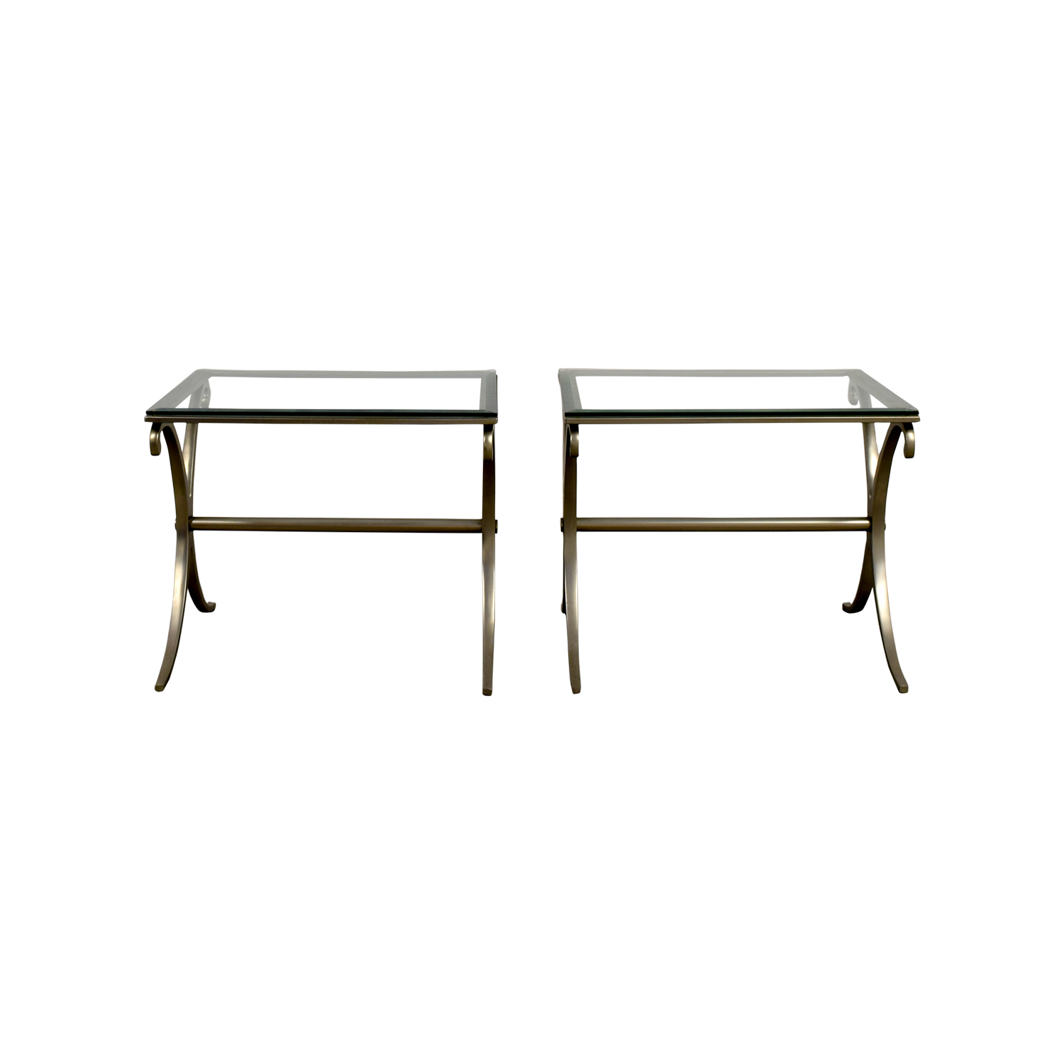 Silver and Glass End Tables for sale