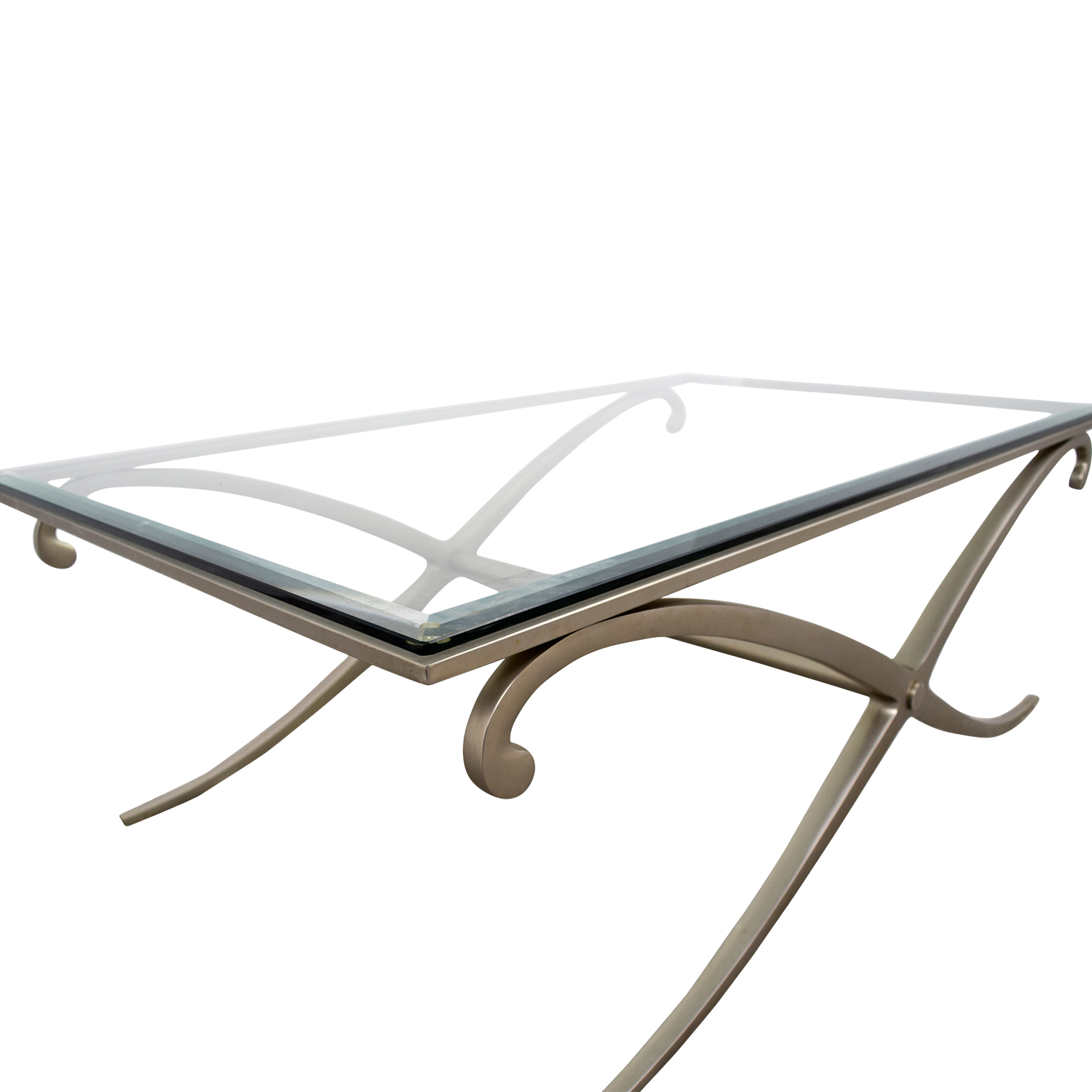 66% OFF Glass and Pewter Coffee Table Tables