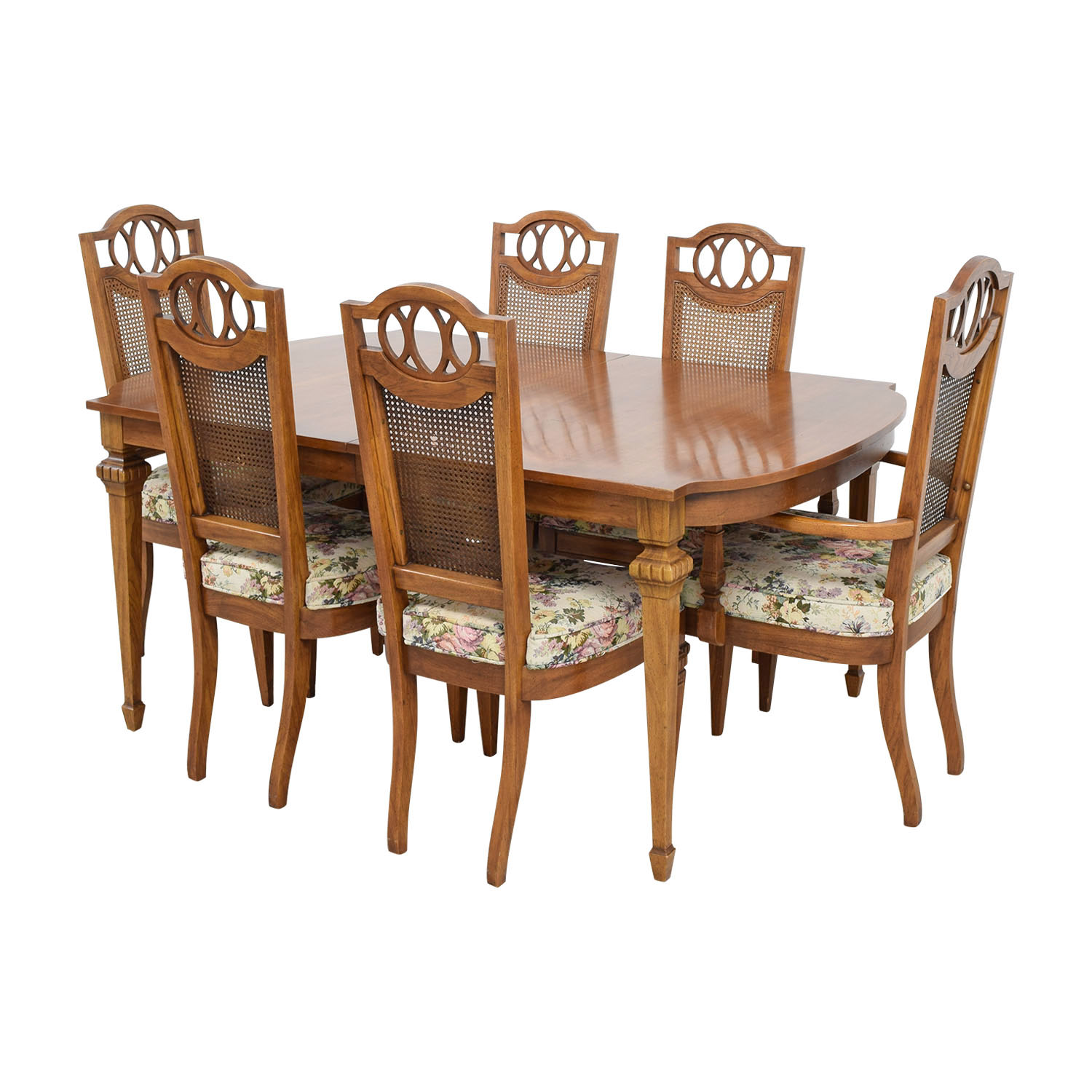 Italian Dining Set with Leaf Extensions and Floral Upholstered Chairs Tables