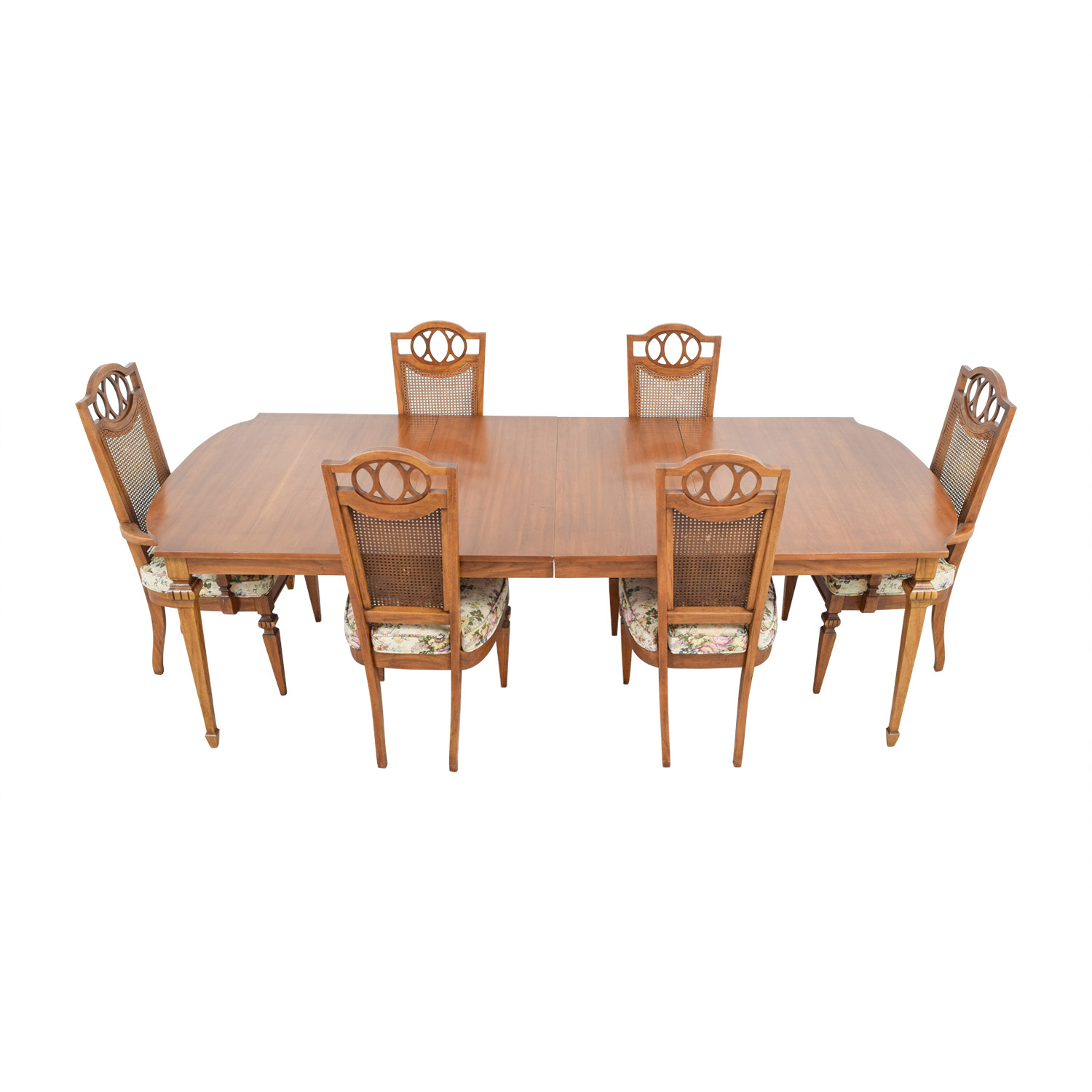 Italian Dining Set with Leaf Extensions and Floral Upholstered Chairs