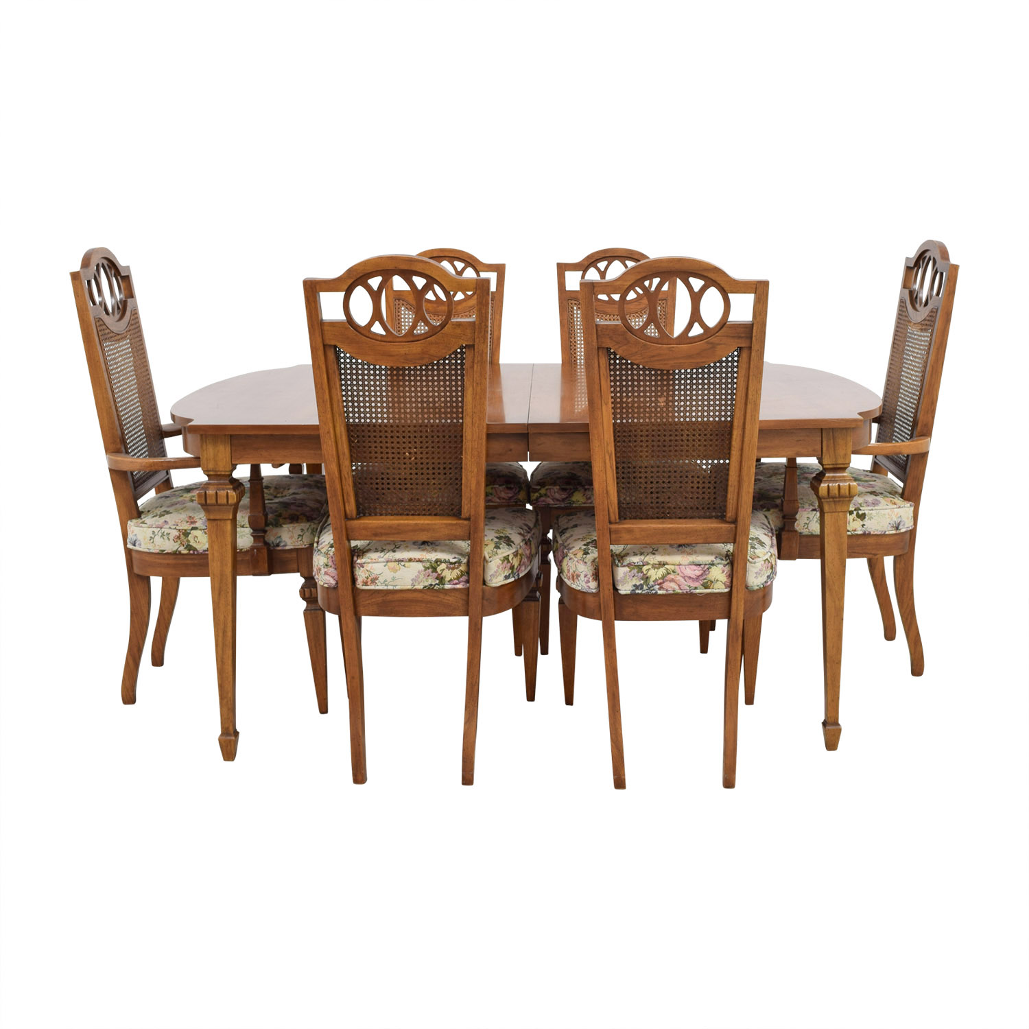 Italian Dining Set with Leaf Extensions and Floral Upholstered Chairs discount