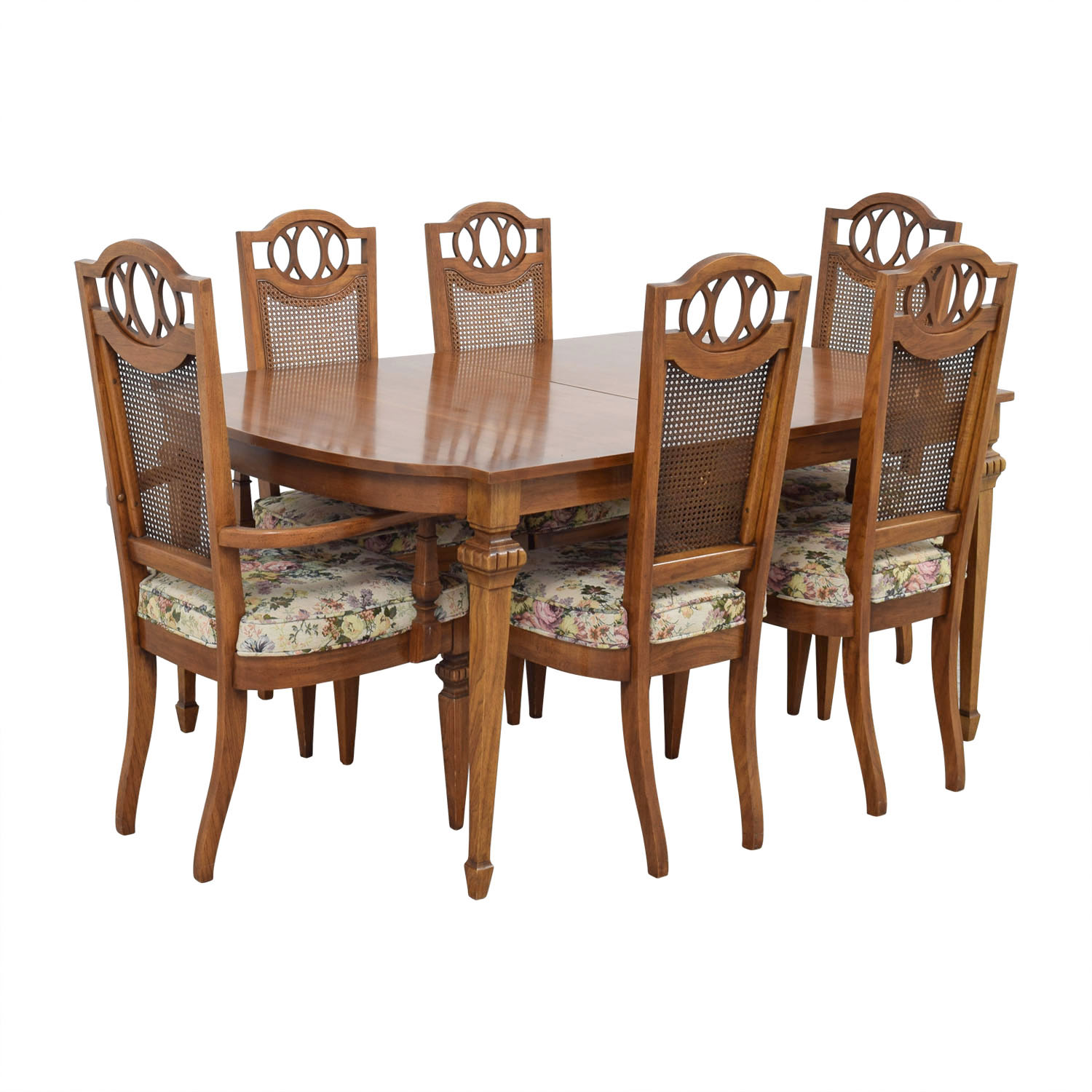 buy Italian Dining Set with Leaf Extensions and Floral Upholstered Chairs Dining Sets