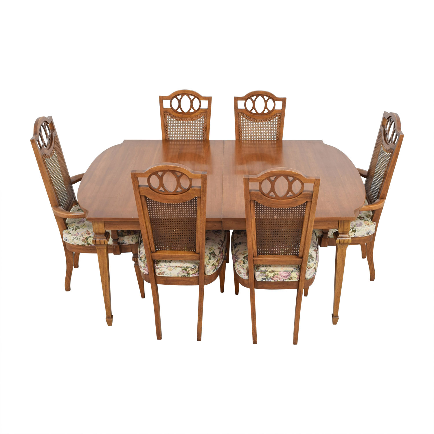 Italian Dining Set with Leaf Extensions and Floral Upholstered Chairs dimensions