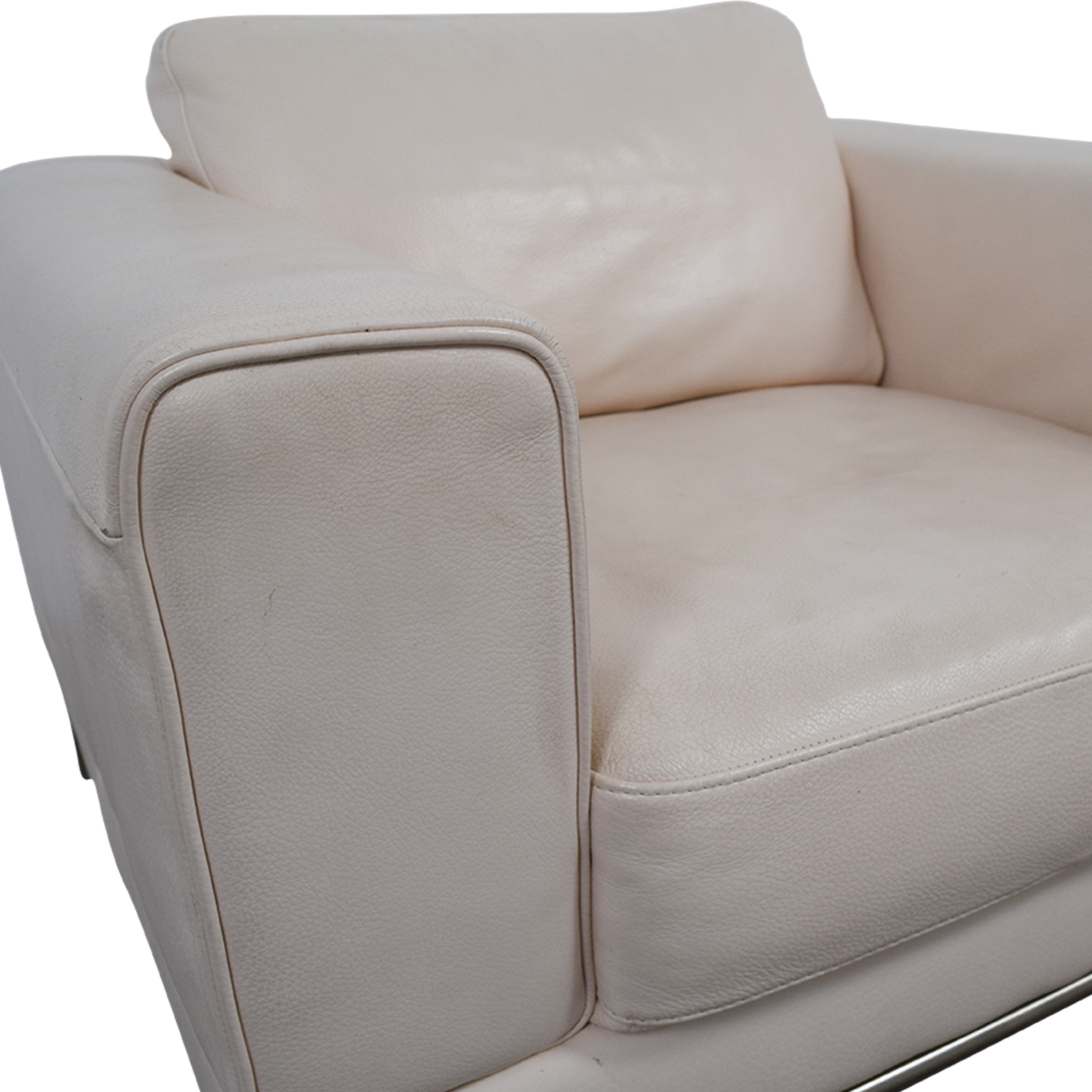 56% OFF White Leather Chair Chairs