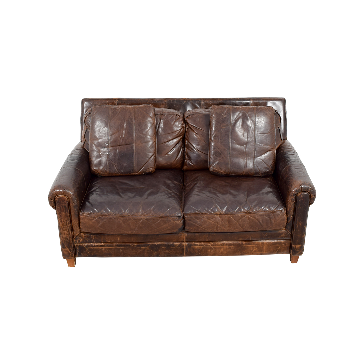 Jennifer Convertibles Jennifer Convertibles Brown Leather Loveseat Sofas