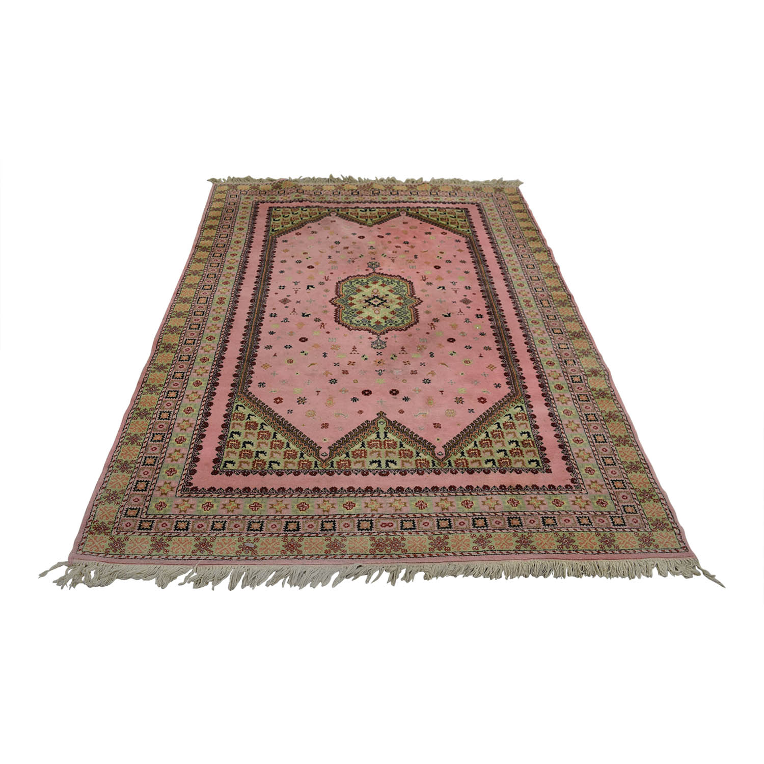 Pink and Beige Moroccan Rug red