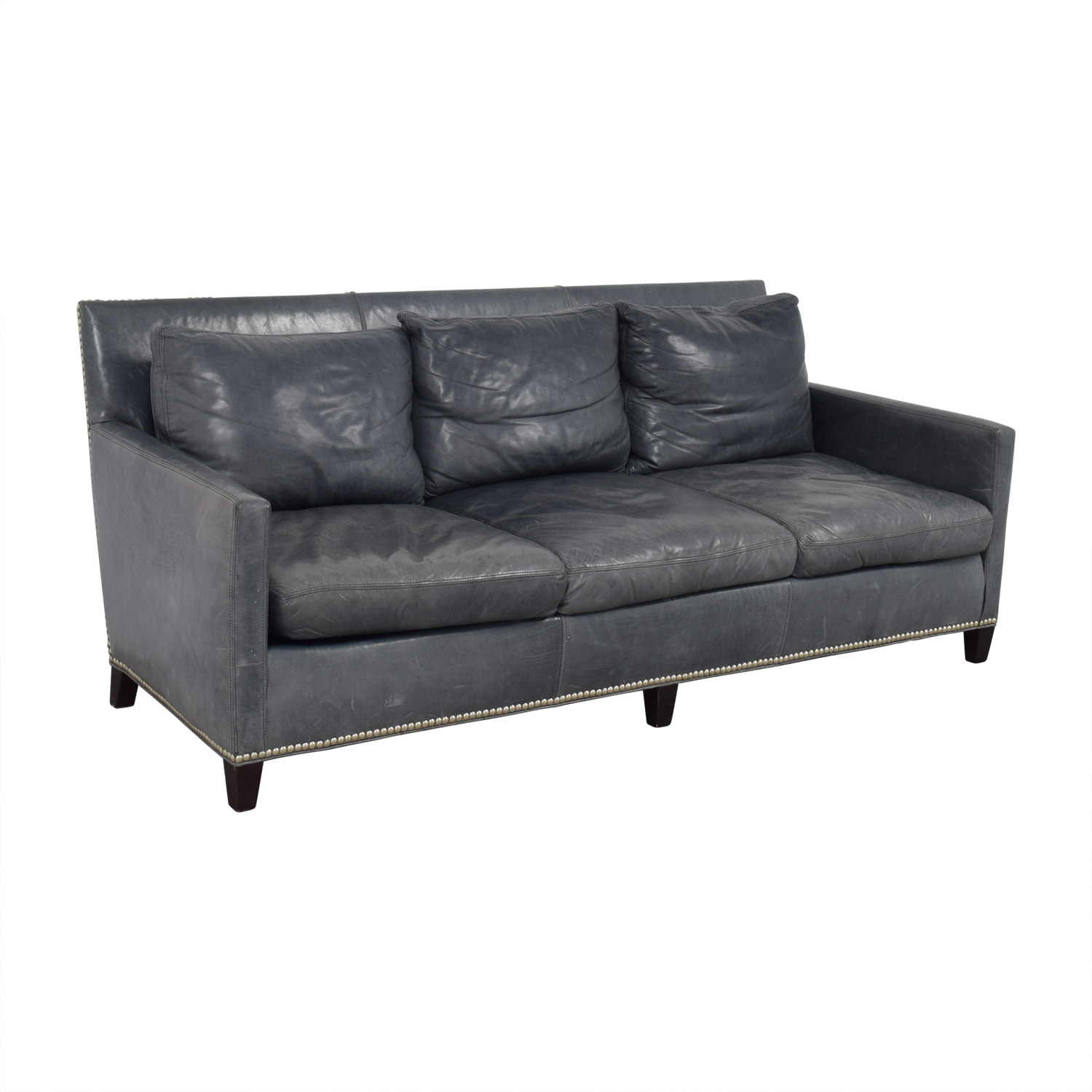 90 off lillian august lillian august maxwell teal for Teal leather sofa