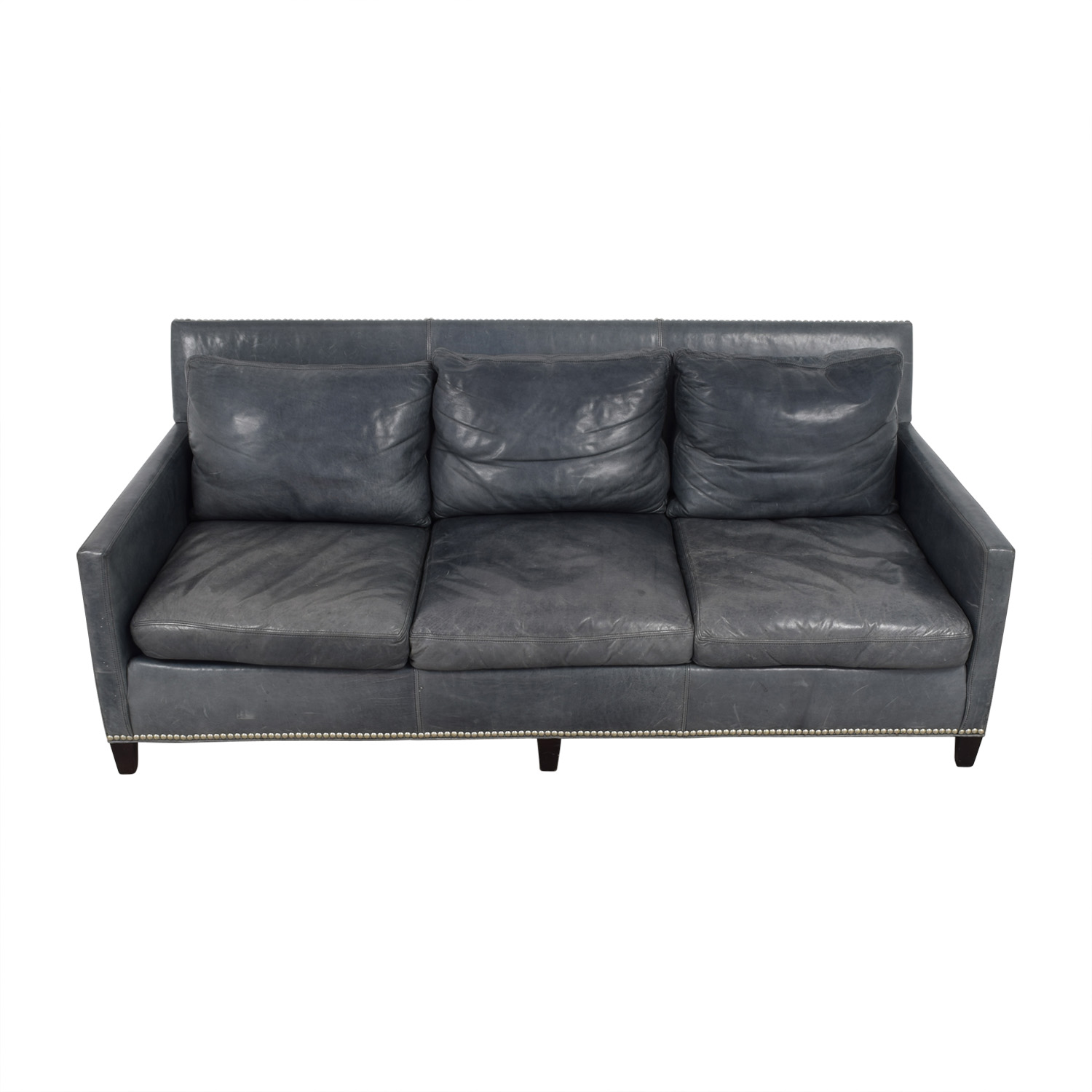 Lillian August Lillian August Maxwell Teal Leather Sofa nyc