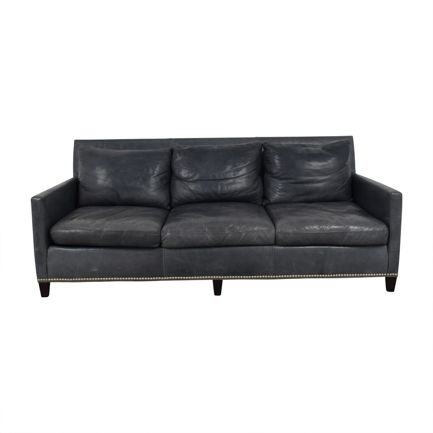 shop Lillian August Maxwell Teal Leather Sofa Lillian August
