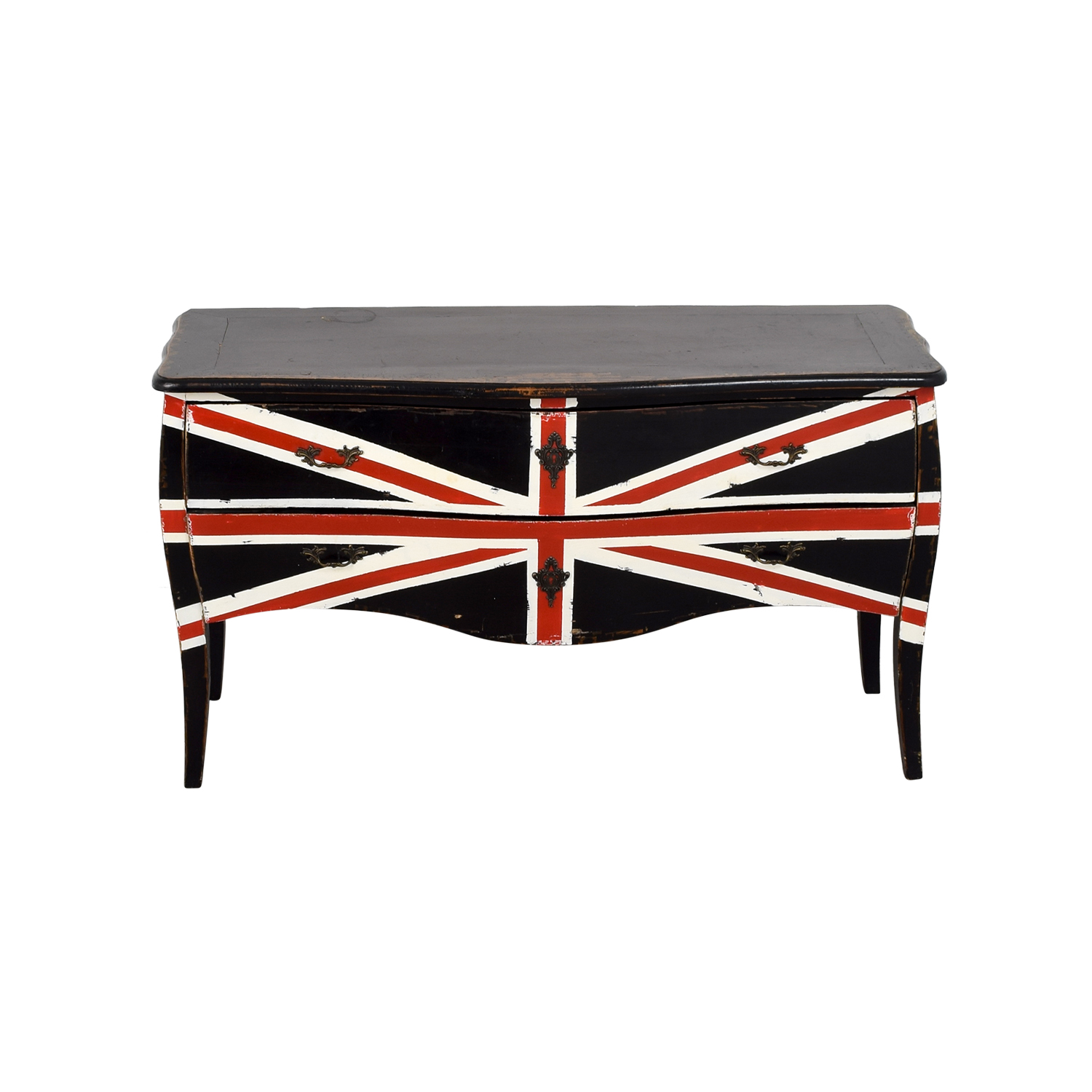 Painted Union Jack Two-Drawer Media Console Dressers