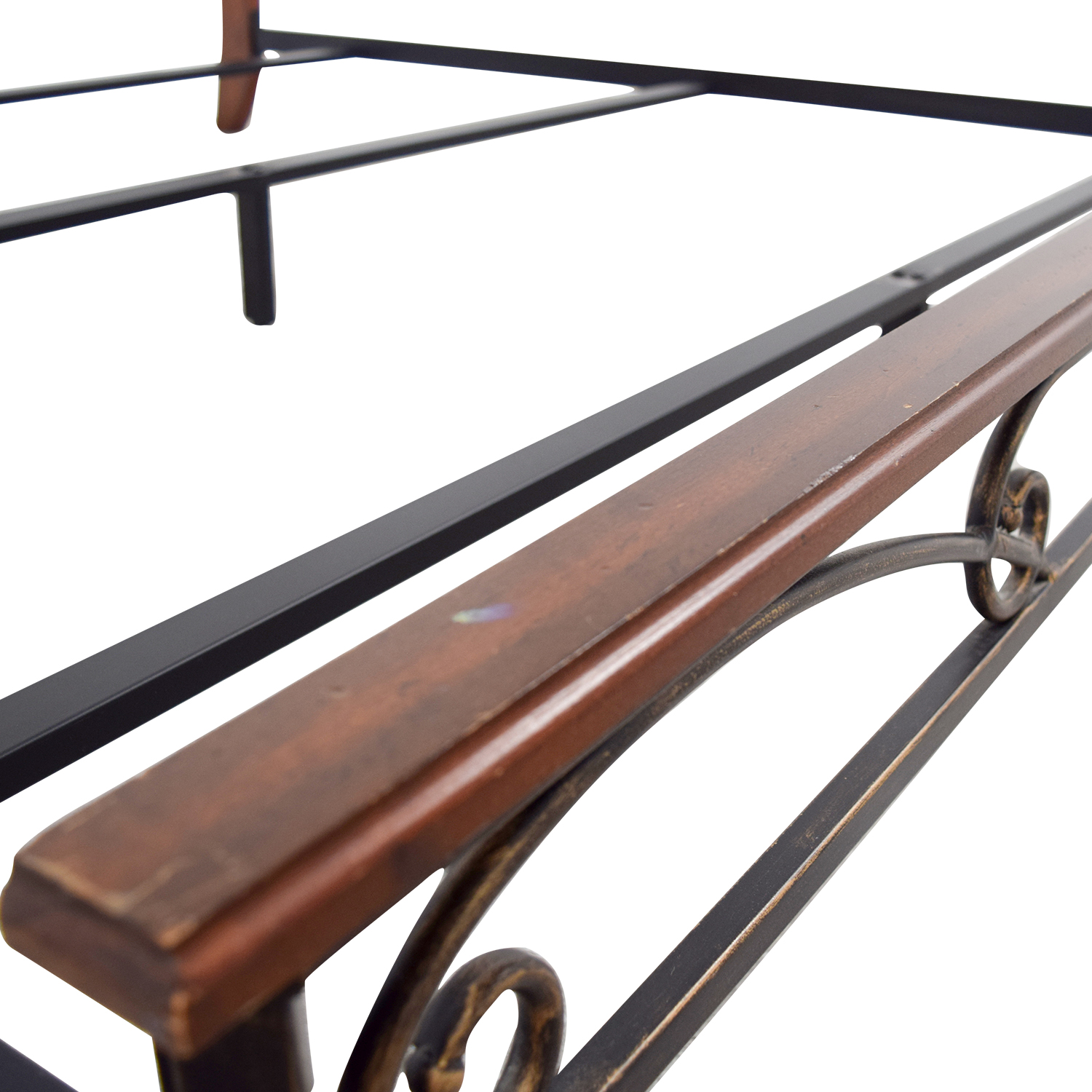 90% OFF - King Wood and Metal Bed Frame / Beds