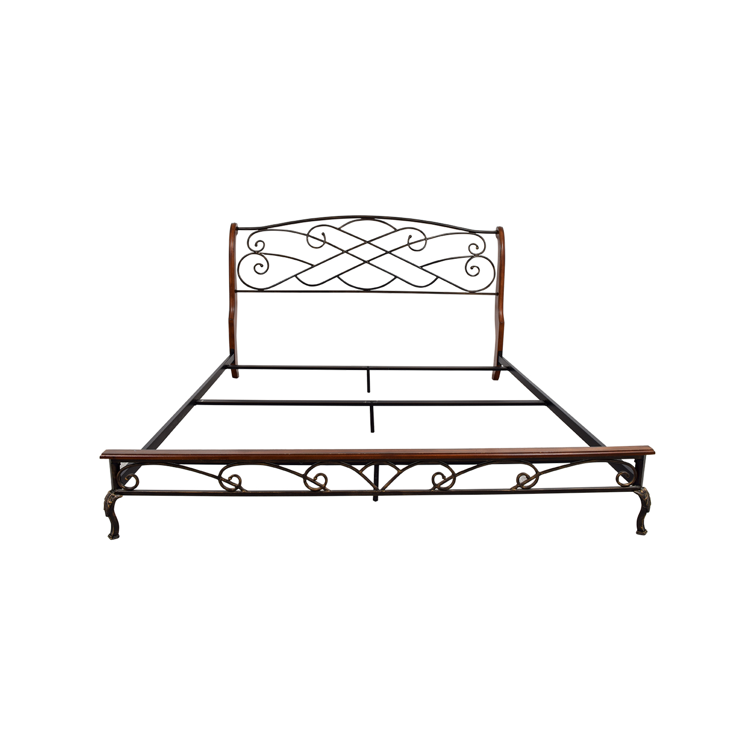 King Wood and Metal Bed Frame for sale