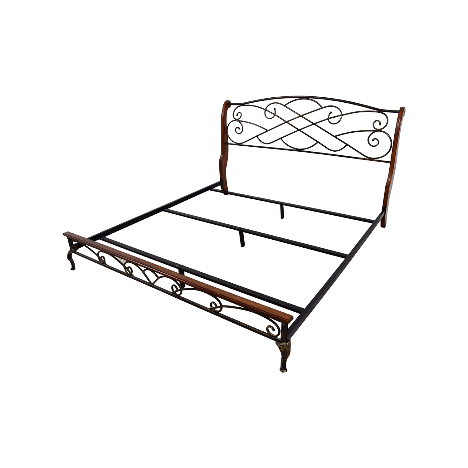 90 Off King Wood And Metal Bed Frame Beds