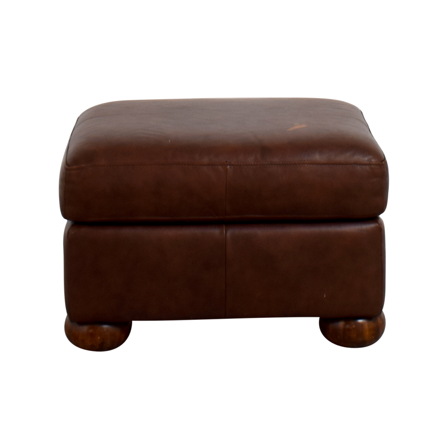 Leather Brown Ottoman / Chairs
