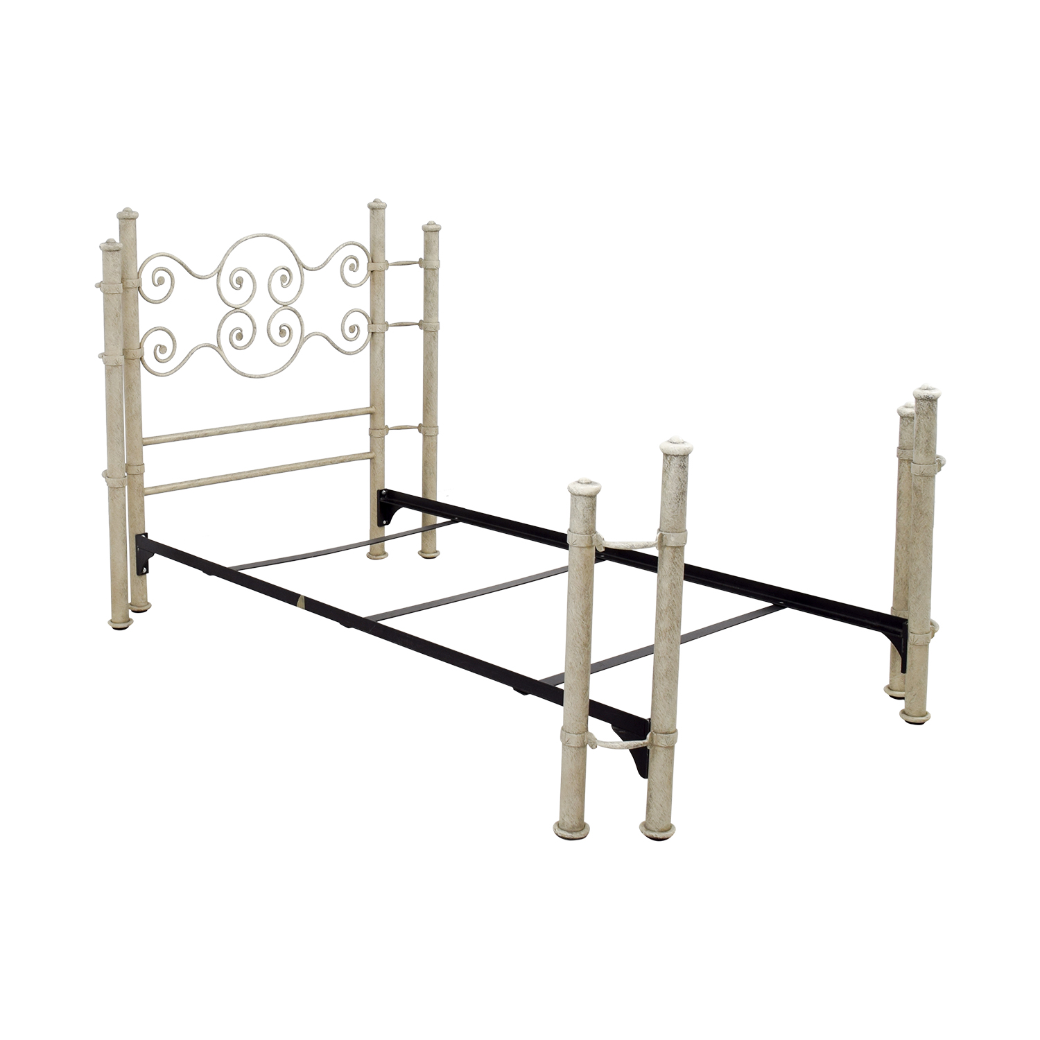 81% OFF - Distressed White and Metal Twin Bed Frame / Beds