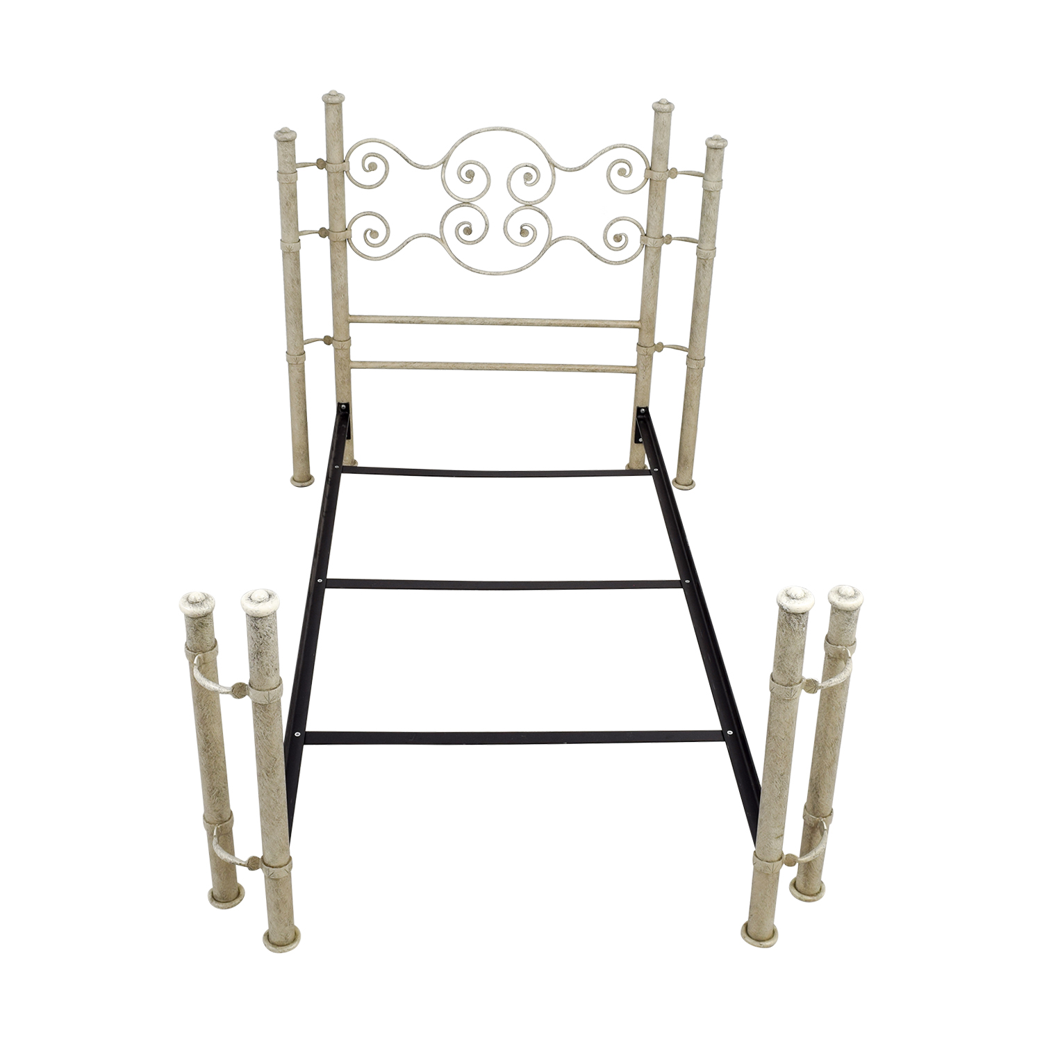 shop Distressed White and Metal Twin Bed Frame online