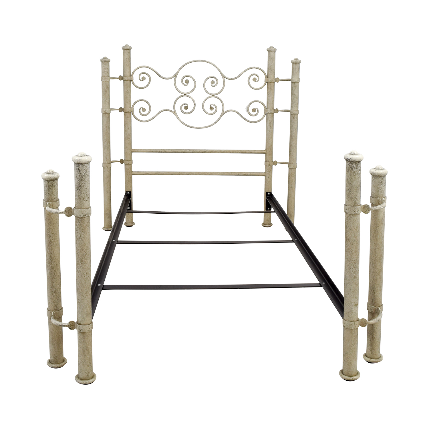 Distressed White and Metal Twin Bed Frame discount