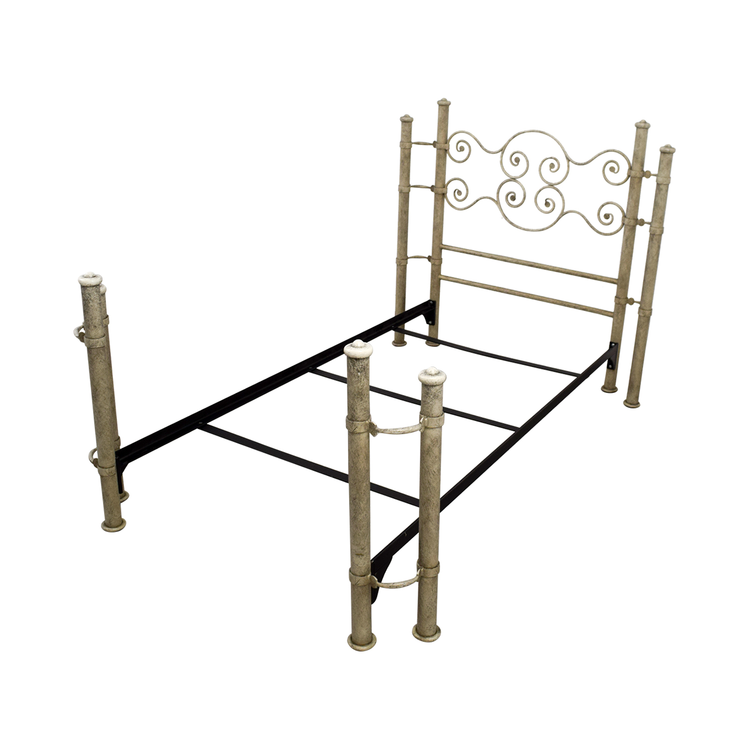 81 off distressed white and metal twin bed frame beds. Black Bedroom Furniture Sets. Home Design Ideas