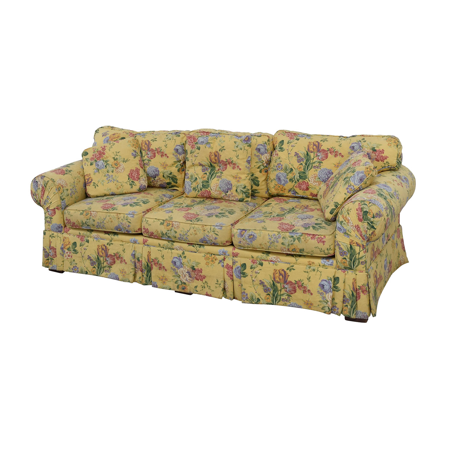 54% OFF Alexvale Alexvale Yellow Floral Two Cushion Couch Sofas