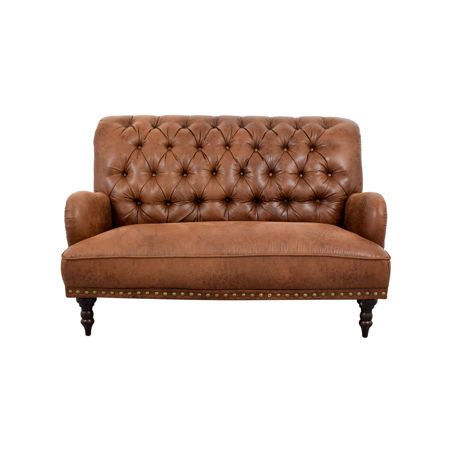 shop Pier 1 Imports Pier 1 Imports Faux Vintage Tufted Brown Leather Sofa online