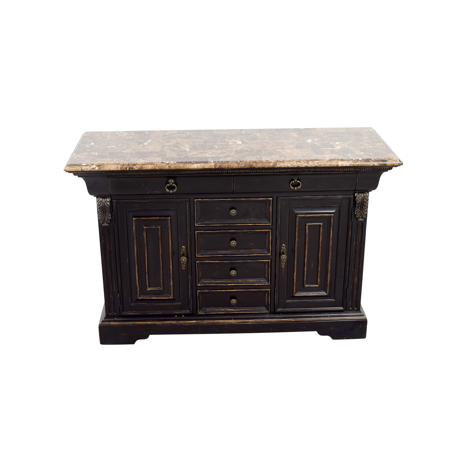 Raymour & Flanigan Raymour & Flanigan Black Sidebar with Marble Top Black/ Marble