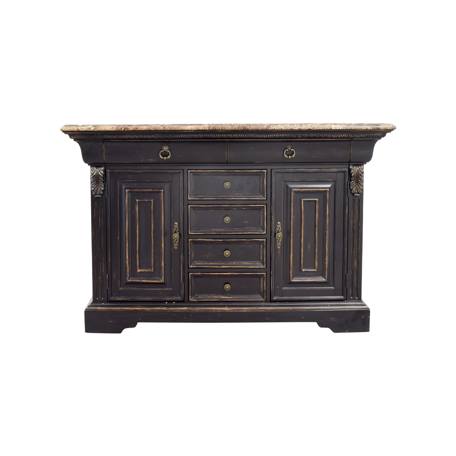 Raymour & Flanigan Black Sidebar with Marble Top / Dressers