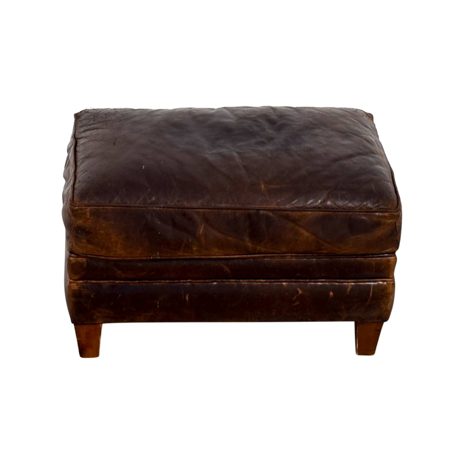 Restoration Hardware Restoration Hardware Brown Leather Ottoman coupon