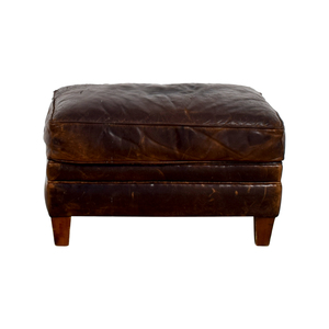 Restoration Hardware Restoration Hardware Brown Leather Ottoman for sale