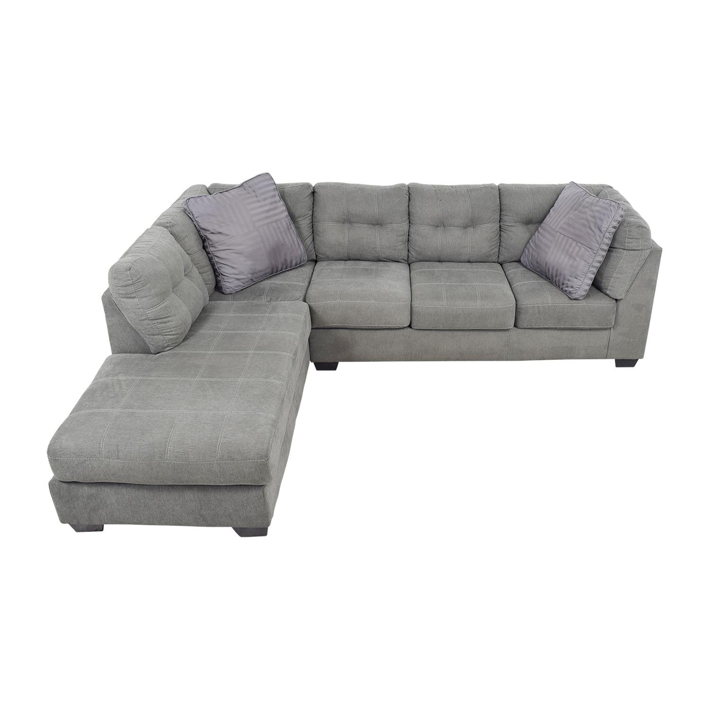 Cool 54 Off Jennifer Furniture Jennifer Convertibles Arthur Grey Left Arm Chaise Sectional Sofas Theyellowbook Wood Chair Design Ideas Theyellowbookinfo