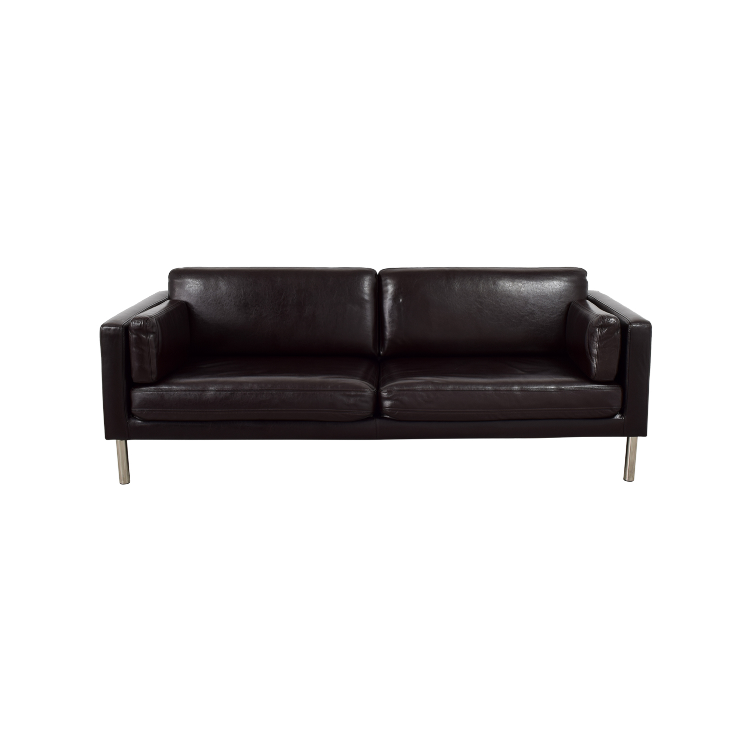Shop IEKA Sater Brown Leather Couch IKEA ...