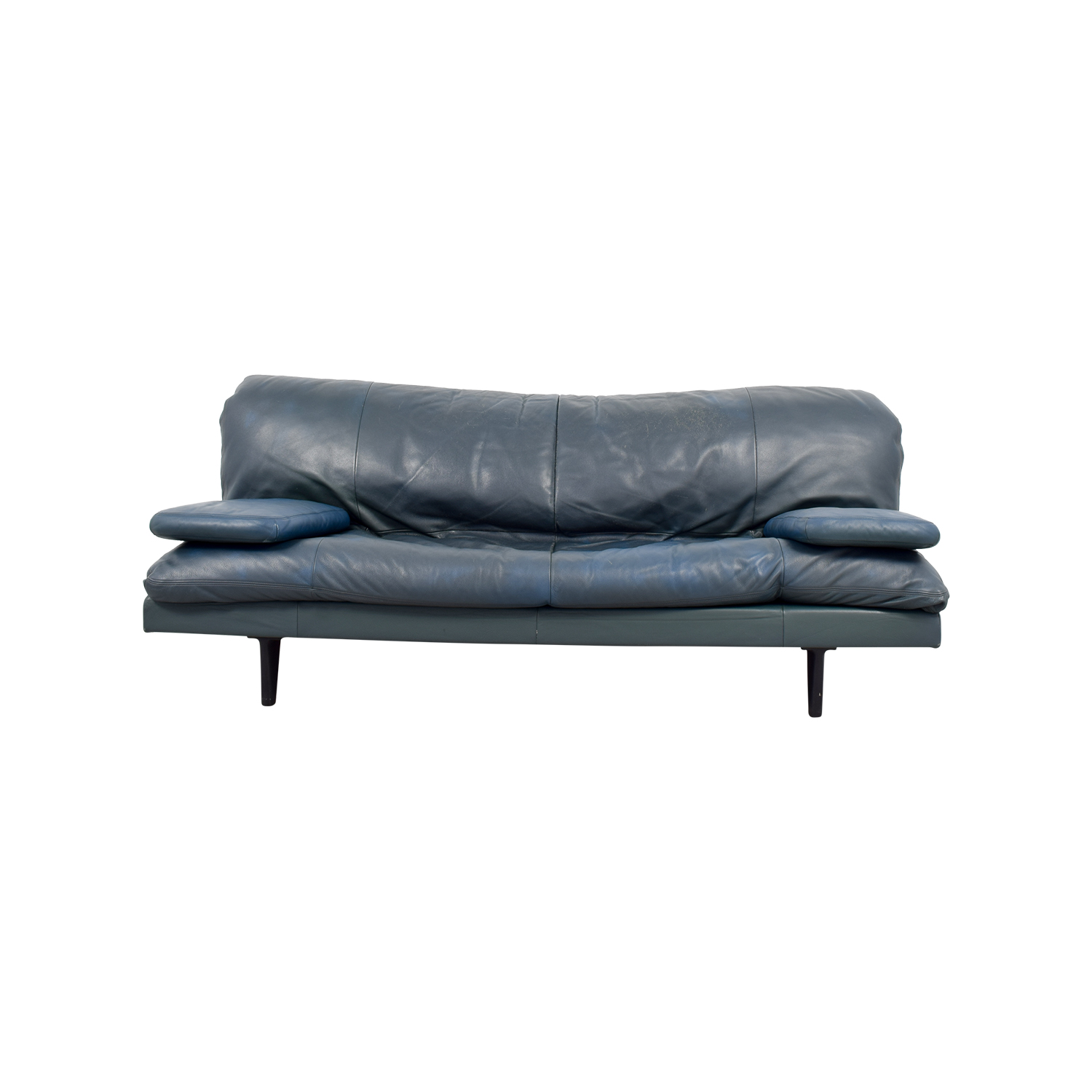 90% OFF - Domus Design Center DDC Blue Leather Couch / Sofas