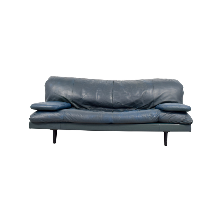 Domus Design Center DDC Blue Leather Couch used