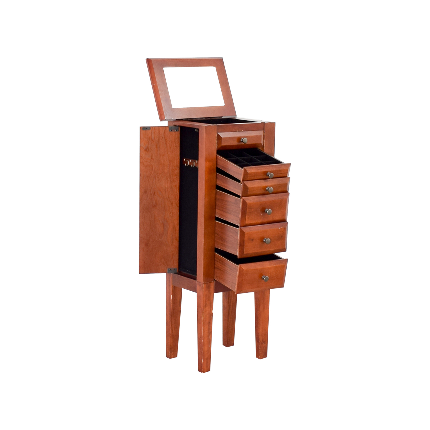 shop Powell Wood Jewelry Cabinet with Mirror Powell Storage