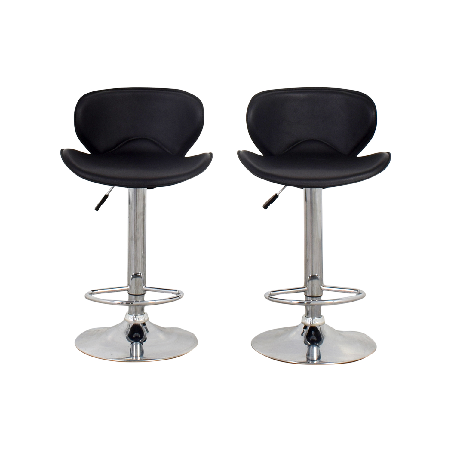 Black Leather Adjustable Bar Stools dimensions