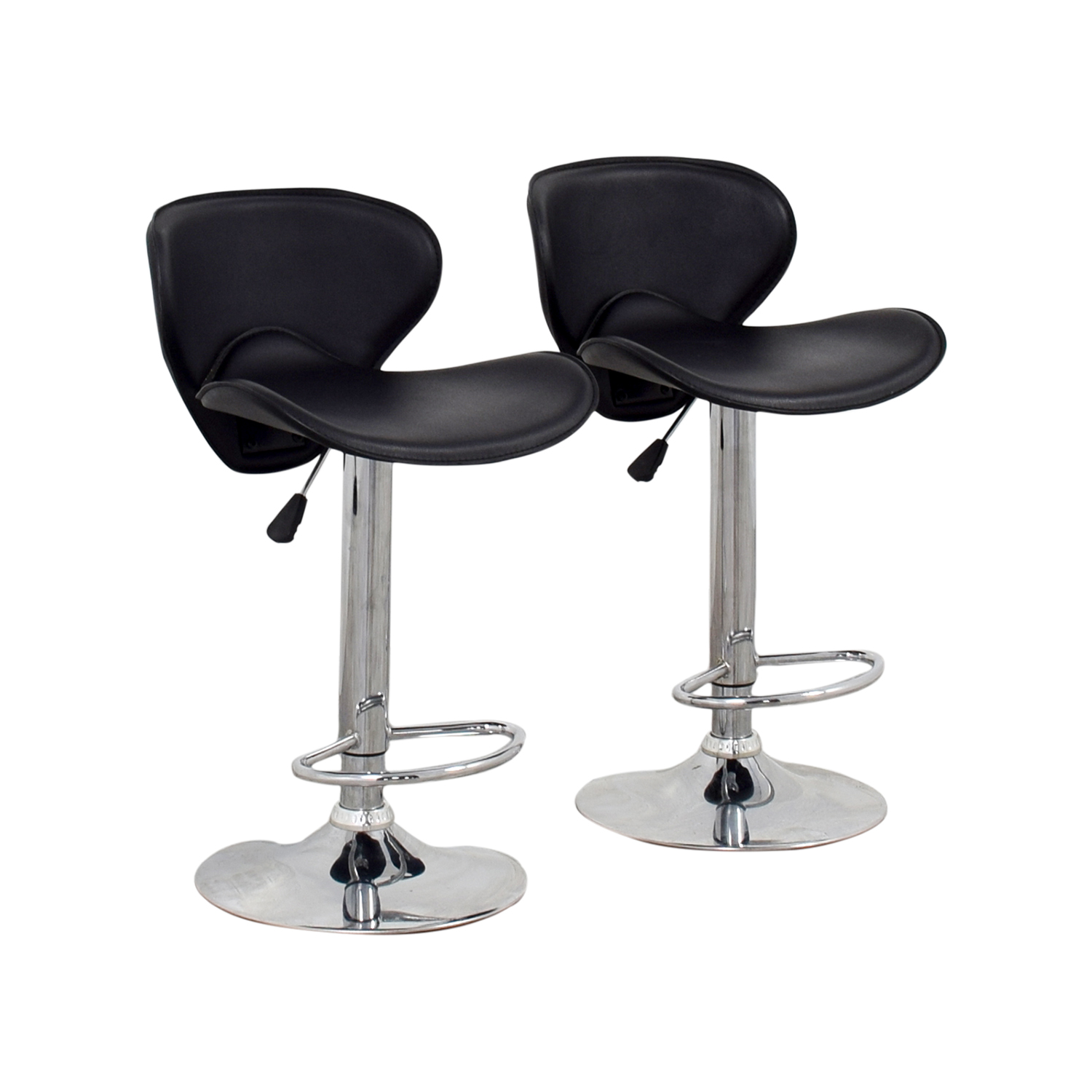 Magnificent 68 Off Black Leather Adjustable Bar Stools Chairs Ncnpc Chair Design For Home Ncnpcorg