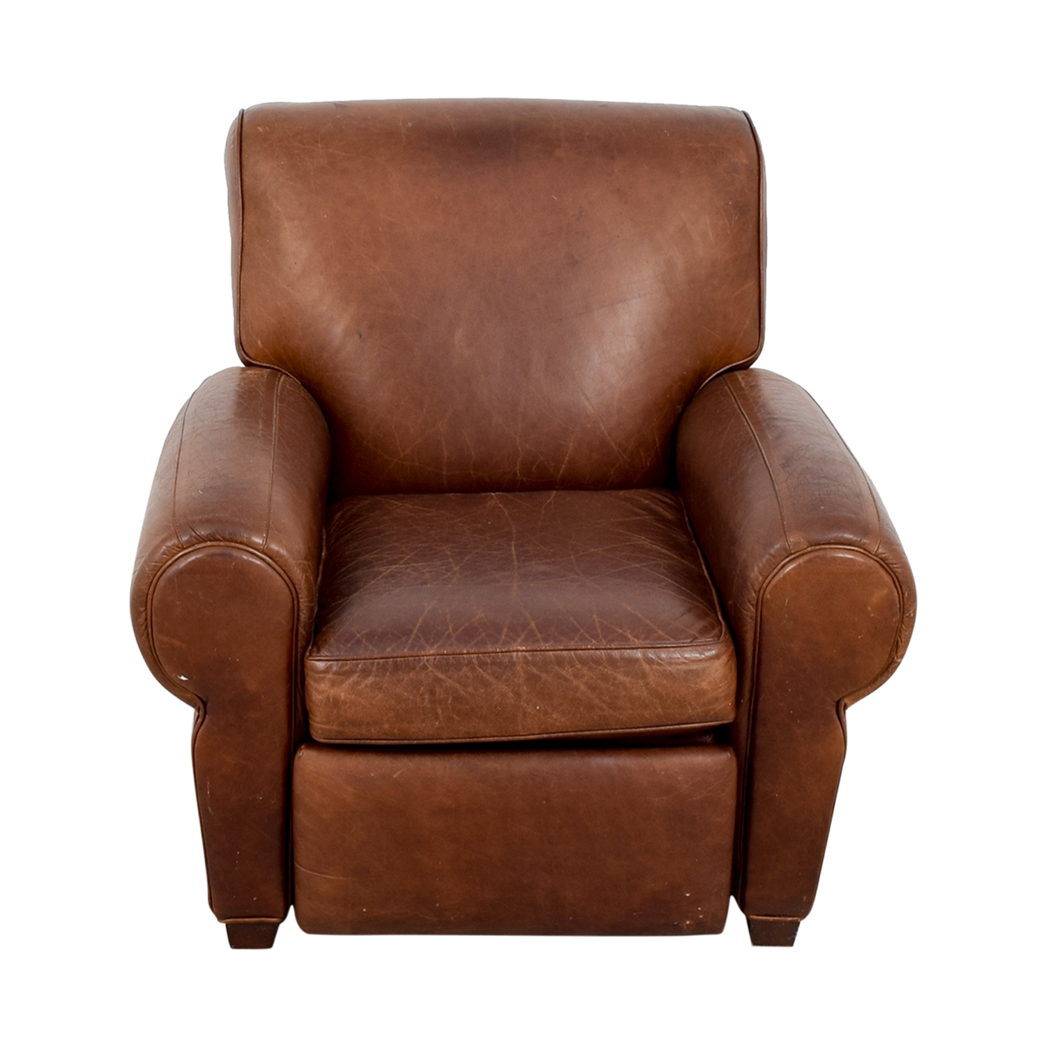 shop Pottery Barn Manhattan Brown Leather Club Chair Pottery Barn Recliners